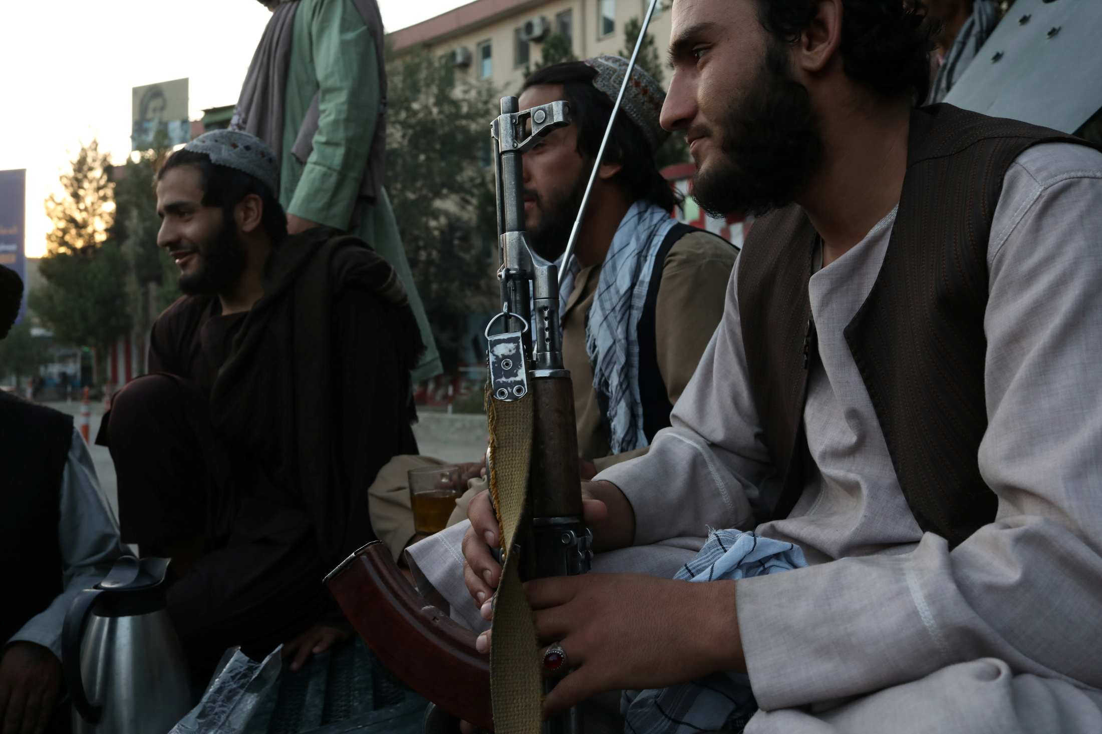 Taliban soldiers talk to each other, in Kabul, Afghanistan September 1, 2021. WANA (West Asia News Agency) via REUTERS