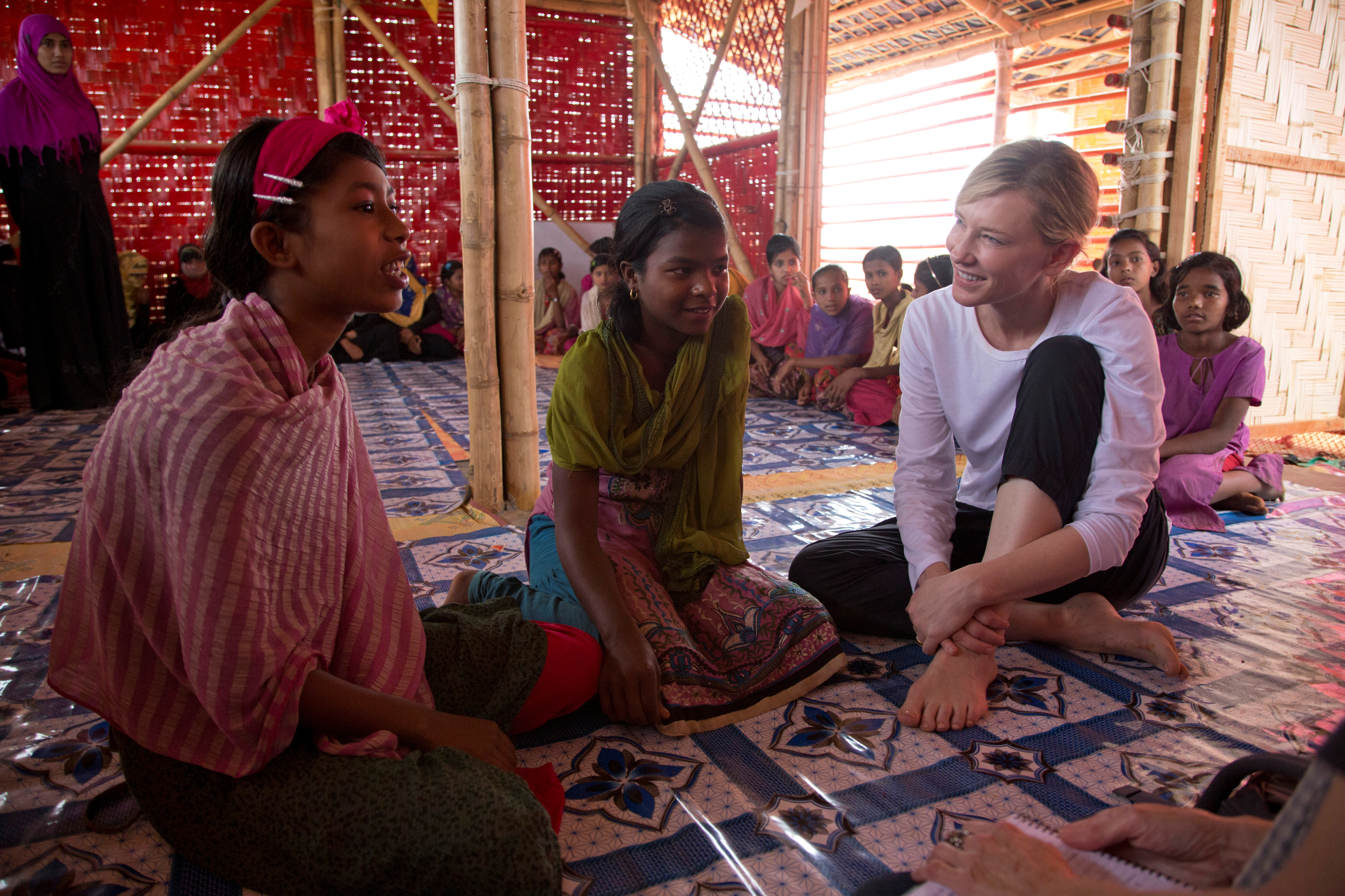 Cate Blanchett, Goodwill Ambassador for UNHCR, the UN Refugee Agency, meets young Rohingya refugees at the Temporary Learning Centre run by UNHCR's implementing partner, Community Development Centre (CODEC), in Kutupalong refugee camp, in Cox's Bazar, Bangladesh March 16, 2018. UNHCR/Hector Perez/Handout via REUTERS