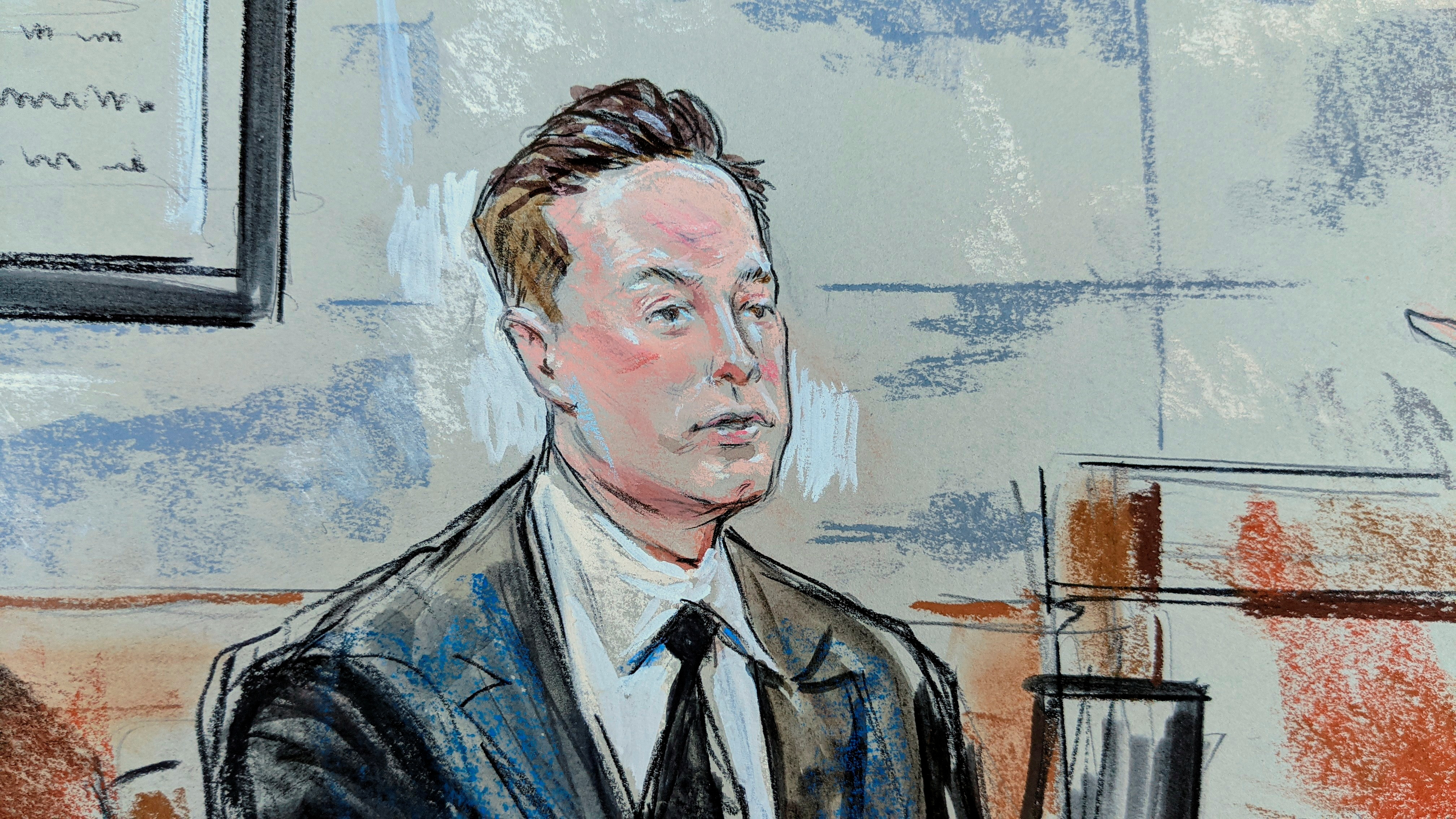 Tesla CEO Elon Musk defends Tesla Inc's 2016 deal for SolarCity at the Williams Justice Center in a case before the Delaware Court of Chancery, in Wilmington, Delaware, U.S., July 12, 2021 in this courtroom sketch. REUTERS/Bill Hennessy