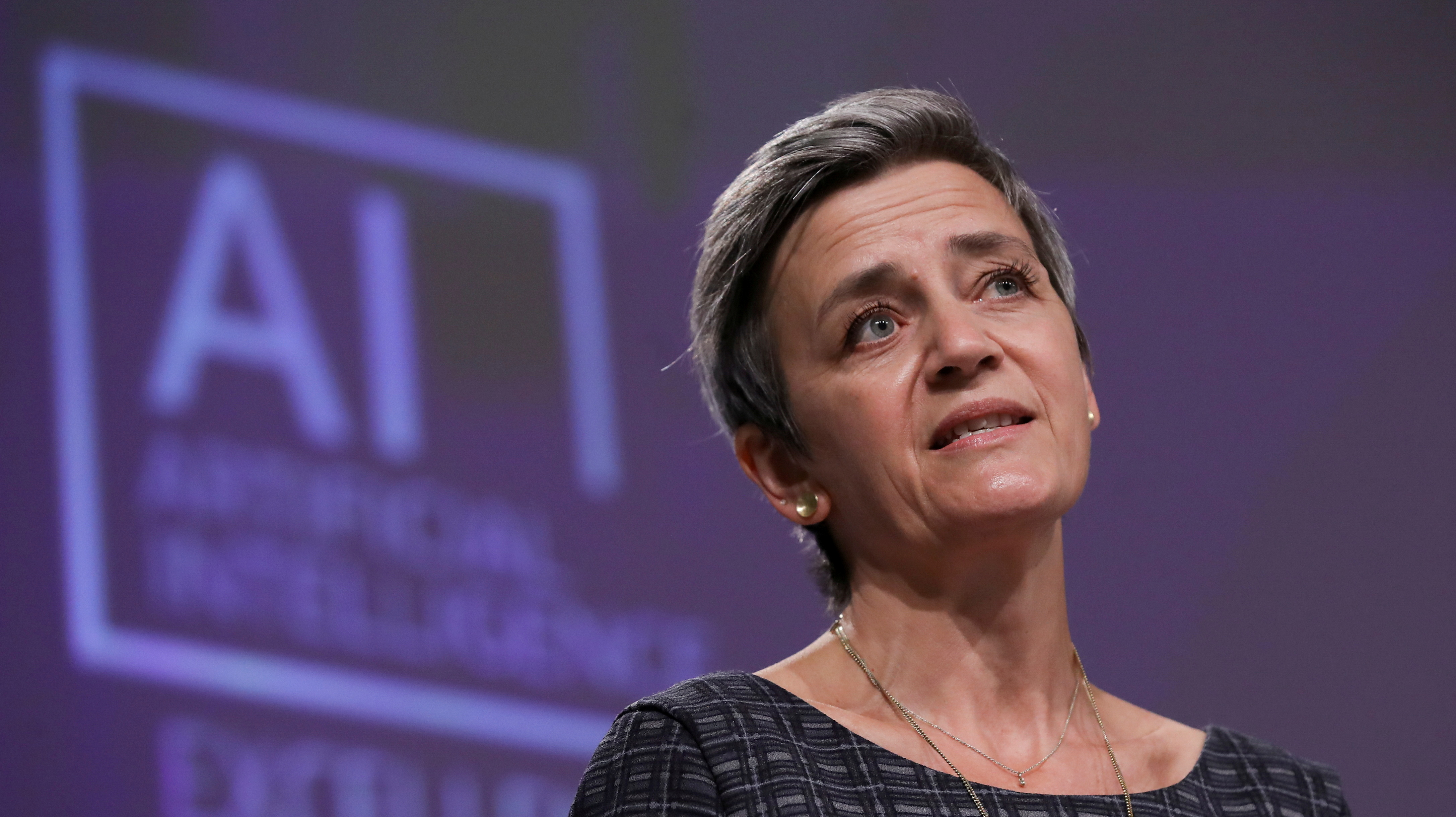 European Executive Vice-President Margrethe Vestager speaks at a media conference following a weekly meeting of EU Commission in Brussels, Belgium, April 21, 2021. Olivier Hoslet/Pool via REUTERS