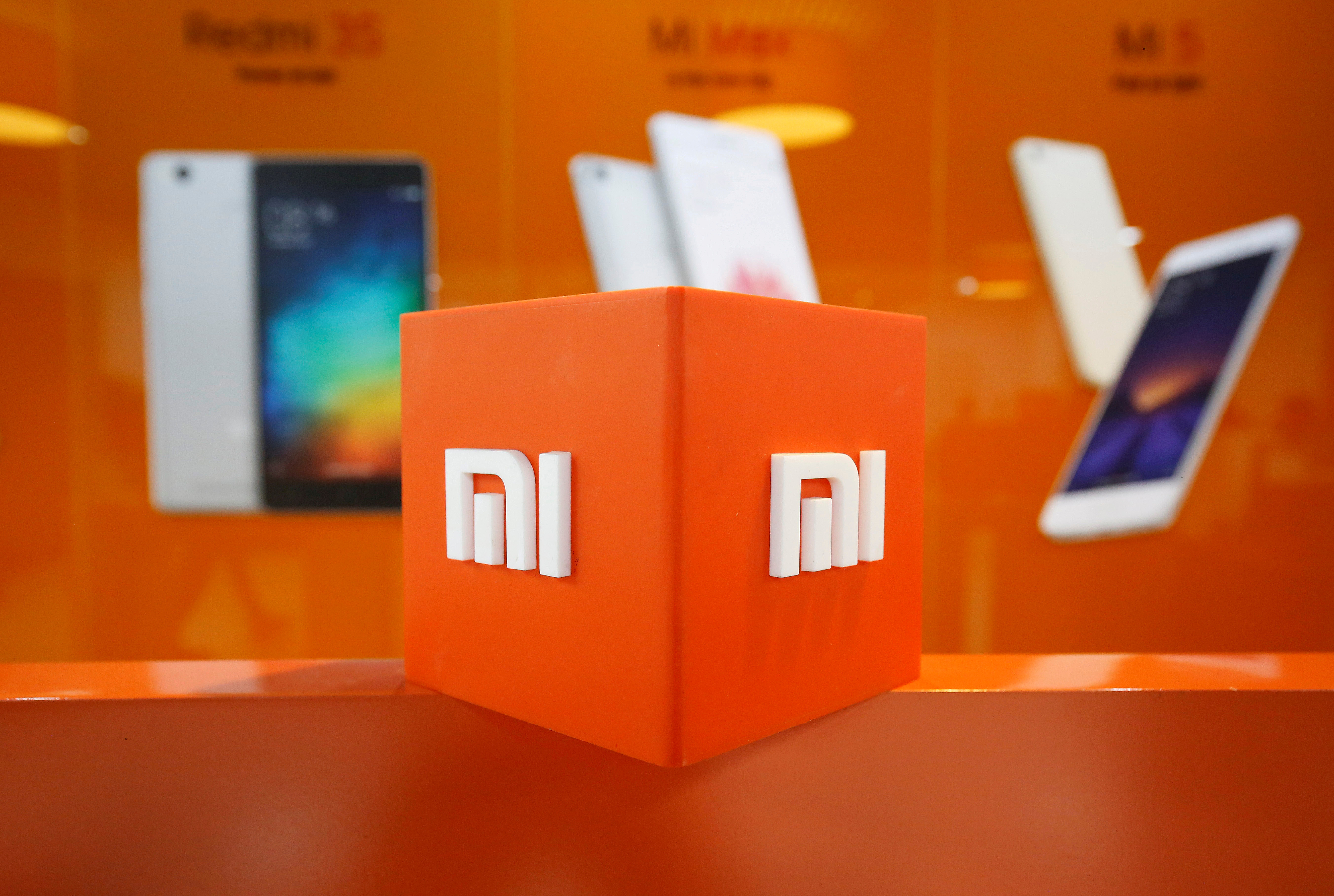 The logo of Xiaomi is seen inside the company's office in Bengaluru, India, January 18, 2018. REUTERS/Abhishek N. Chinnappa