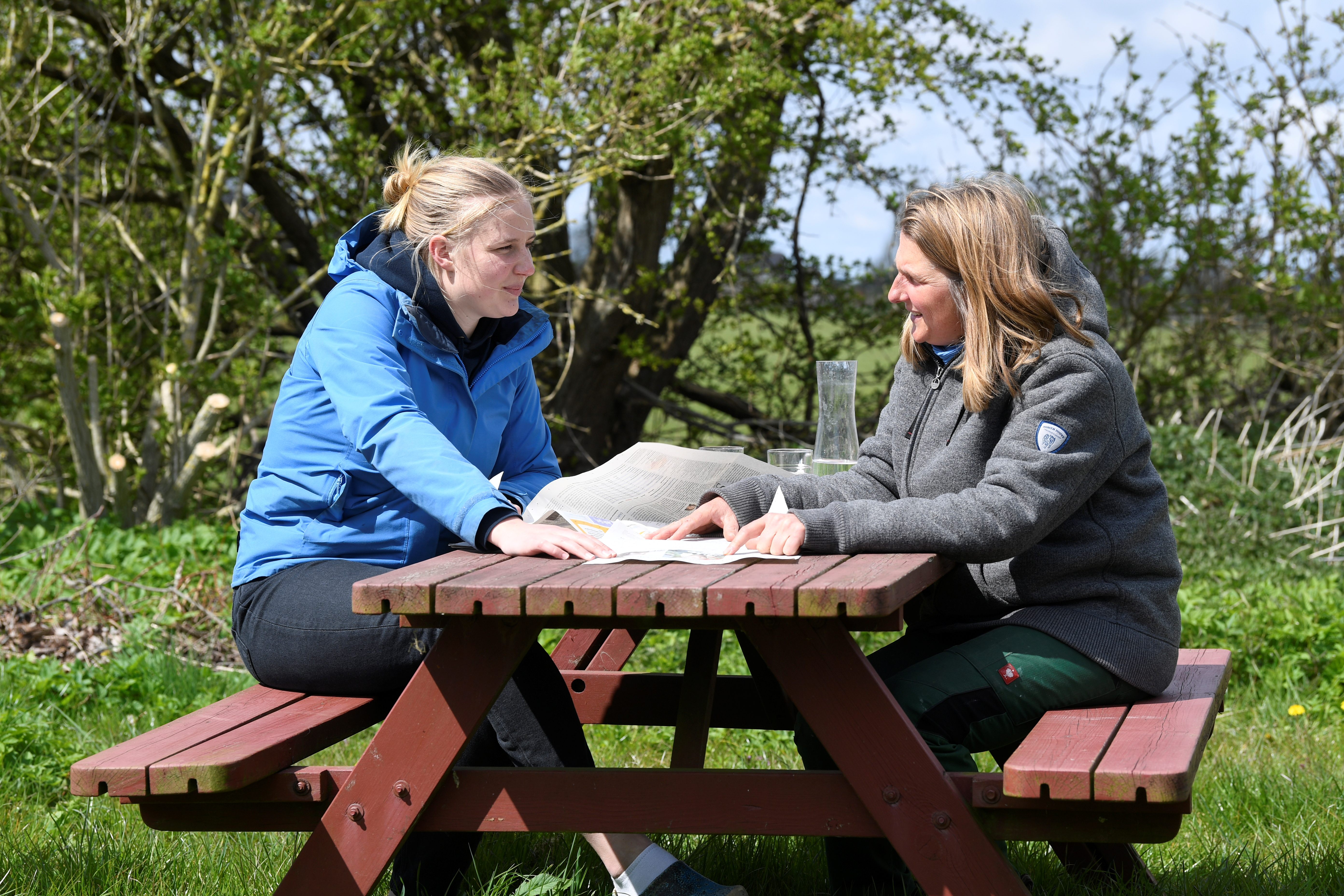 Sophie Backsen, 22, daughter of a farming family which forced Germany by court to tighten its climate law, talks with her mother Silke on the North Sea island of Pellworm, Germany May 3, 2021. Picture taken May 3, 2021. REUTERS/Fabian Bimmer