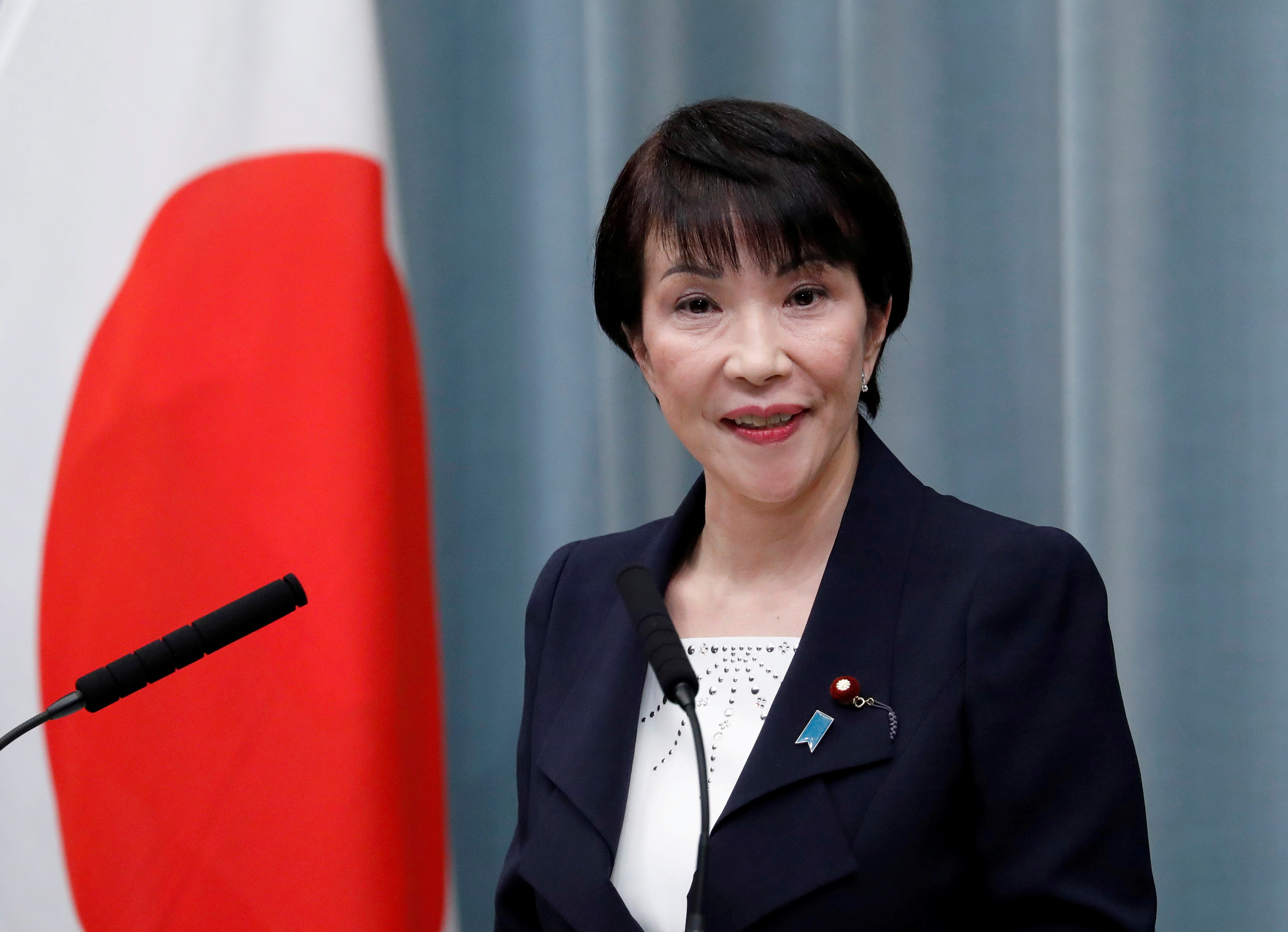 Japan's Internal Affairs Minister Sanae Takaichi attends a news conference at Prime Minister Shinzo Abe's official residence in Tokyo, Japan September 11, 2019. REUTERS/Issei Kato/File Photo