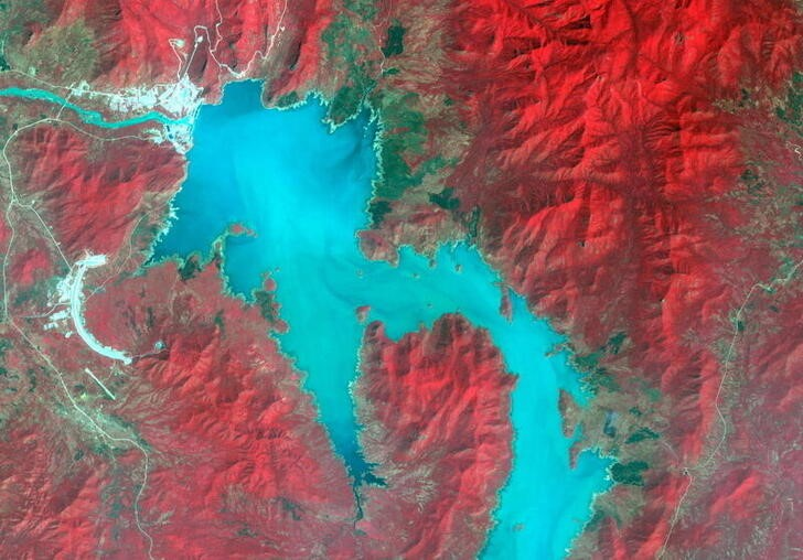 The Blue Nile River is seen as the Grand Ethiopian Renaissance Dam reservoir fills near the Ethiopia-Sudan border, in this broad spectral image taken November 6, 2020. NASA/METI/AIST/Japan Space Systems, and U.S./Japan ASTER Science Team/Handout via REUTERS