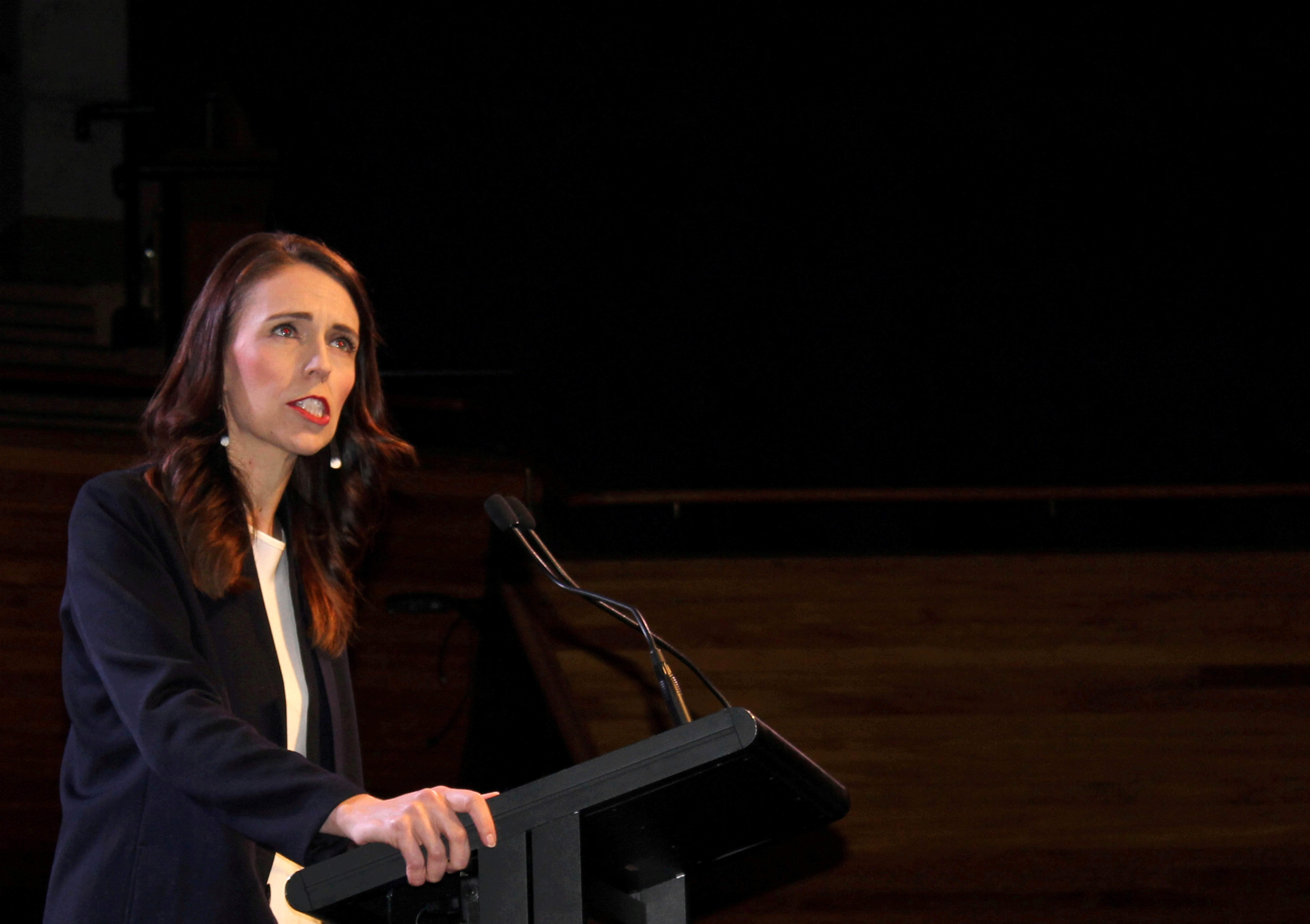 Prime Minister Jacinda Ardern addresses supporters at a Labour Party event in Wellington, New Zealand, October 11, 2020. REUTERS/Praveen Menon/File Photo