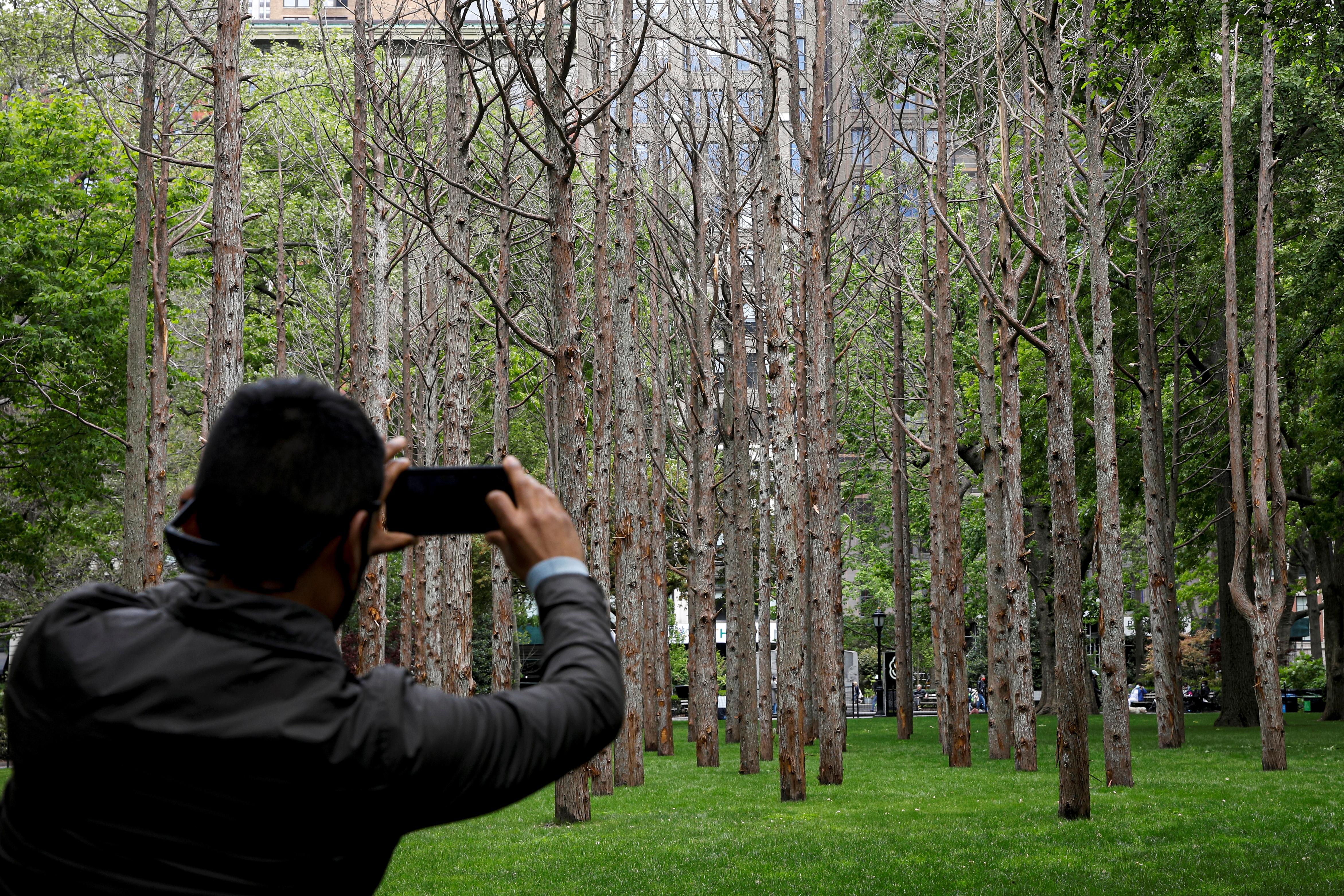 A man photographs