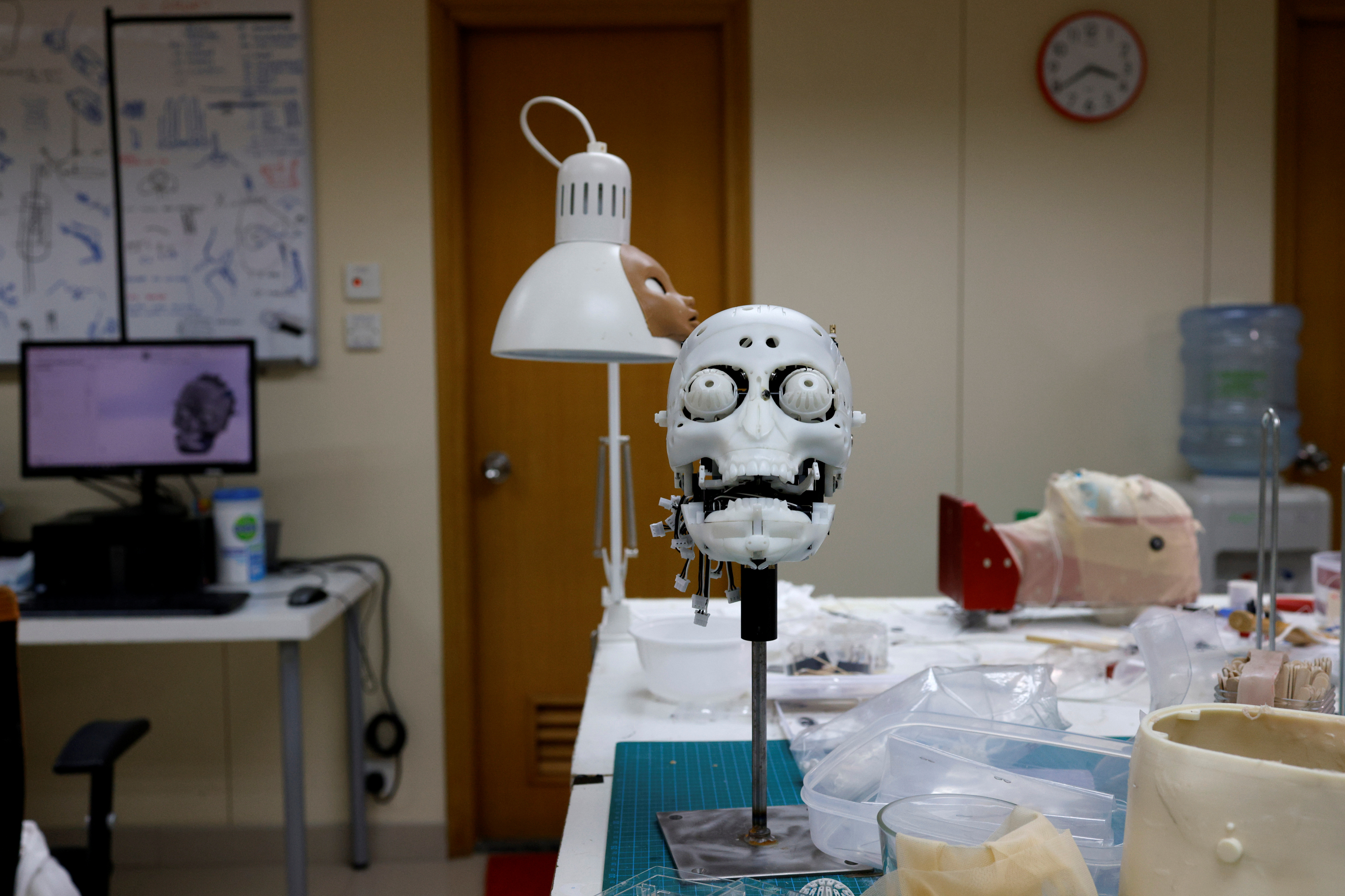 The model of a head is pictured at Hanson Robotics' lab, amid the coronavirus disease (COVID-19) pandemic, in Hong Kong, China May 4, 2021. Picture taken May 4, 2021. REUTERS/Tyrone Siu