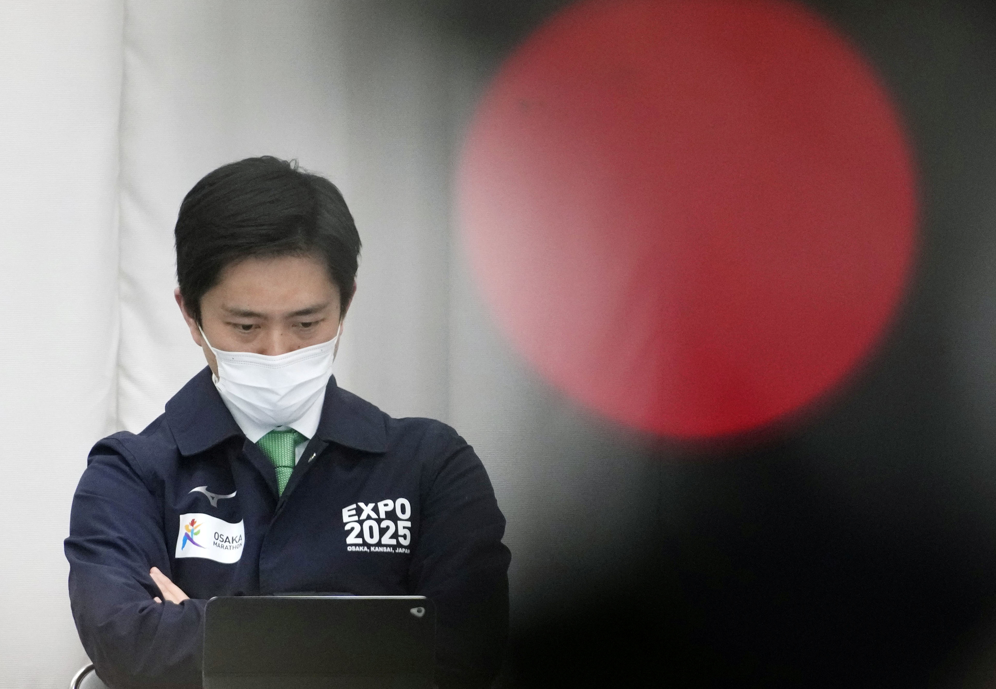 Osaka governor Hirofumi Yoshimura is pictured during a prefectural anti-coronavirus task force meeting in Osaka, Japan, in this photo taken by Kyodo April 7, 2021. Mandatory credit Kyodo/via REUTERS ATTENTION EDITORS - THIS IMAGE WAS PROVIDED BY A THIRD PARTY. MANDATORY CREDIT. JAPAN OUT.