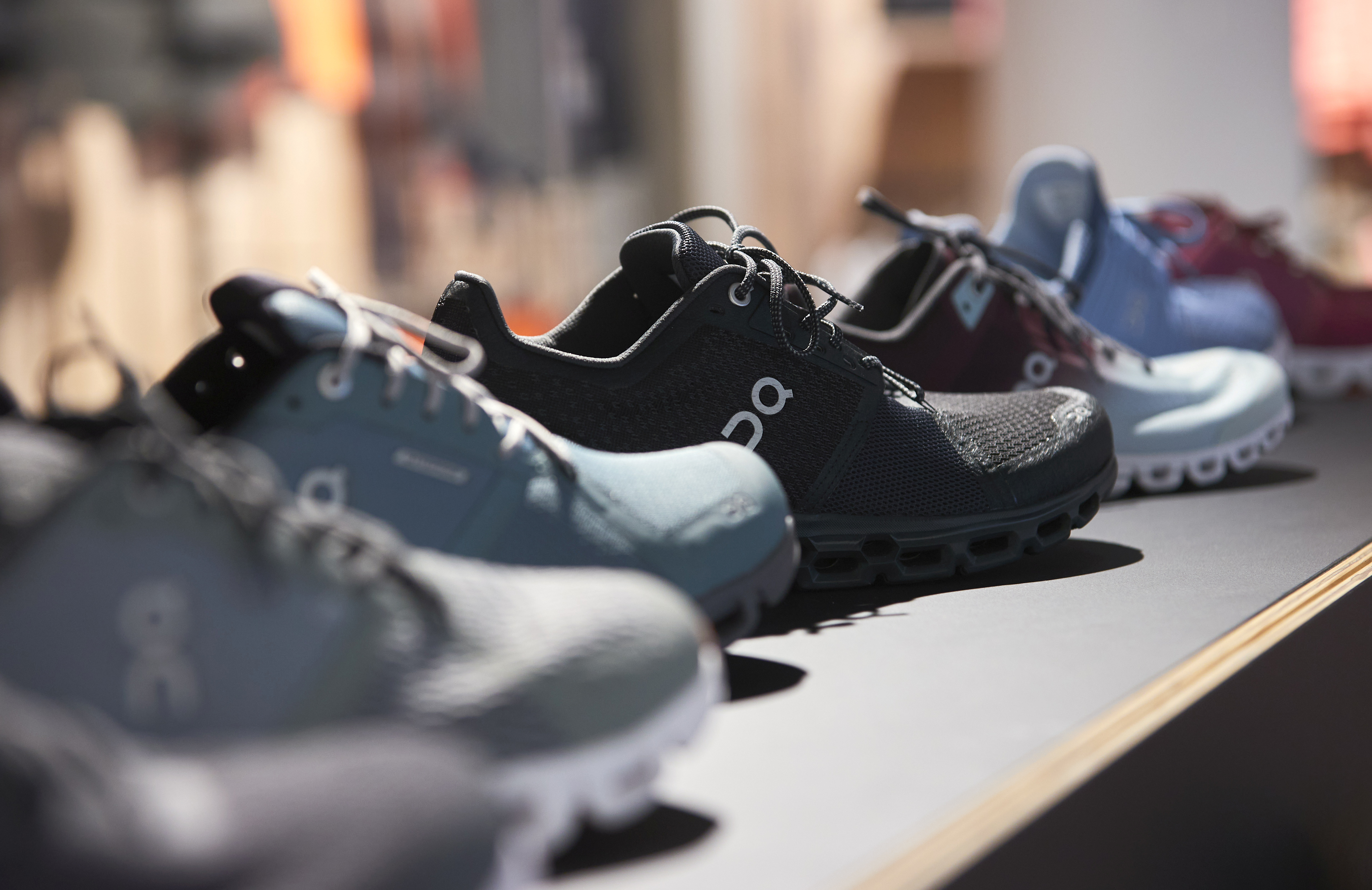 Shoesby ON (Run on Clouds), a shoemaker backed by Swiss tennis player Roger Federer, are pictured in the Swiss Sport Style shop ahead of the Initial Public Offering (IPO), in Lausanne, Switzerland, September 14, 2021. REUTERS/Denis Balibouse