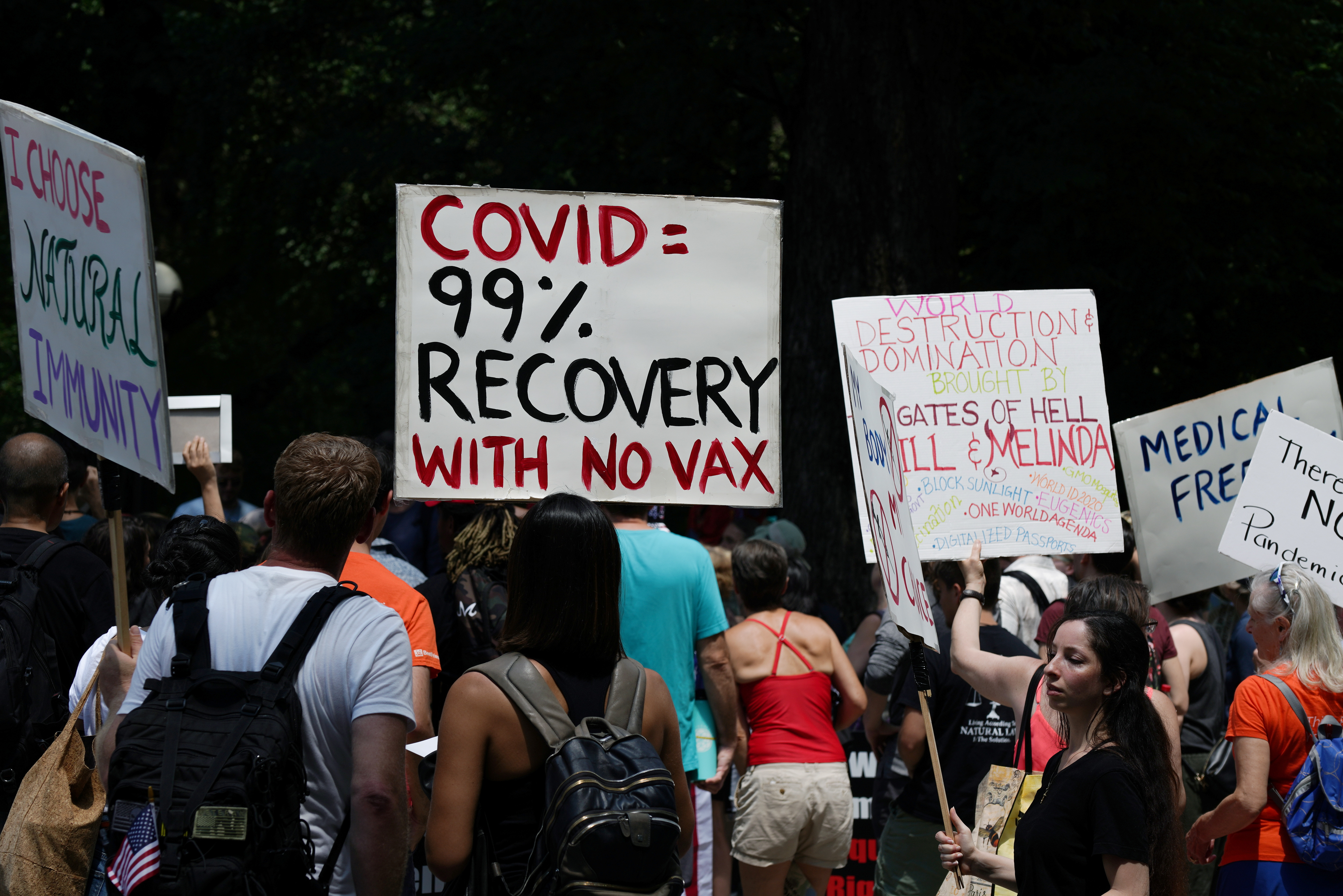 People gather during an anti-vaccine demonstration, amid the coronavirus disease (COVID-19) pandemic, in Central Park, New York City, U.S., July 24, 2021.  REUTERS/David 'Dee' Delgado