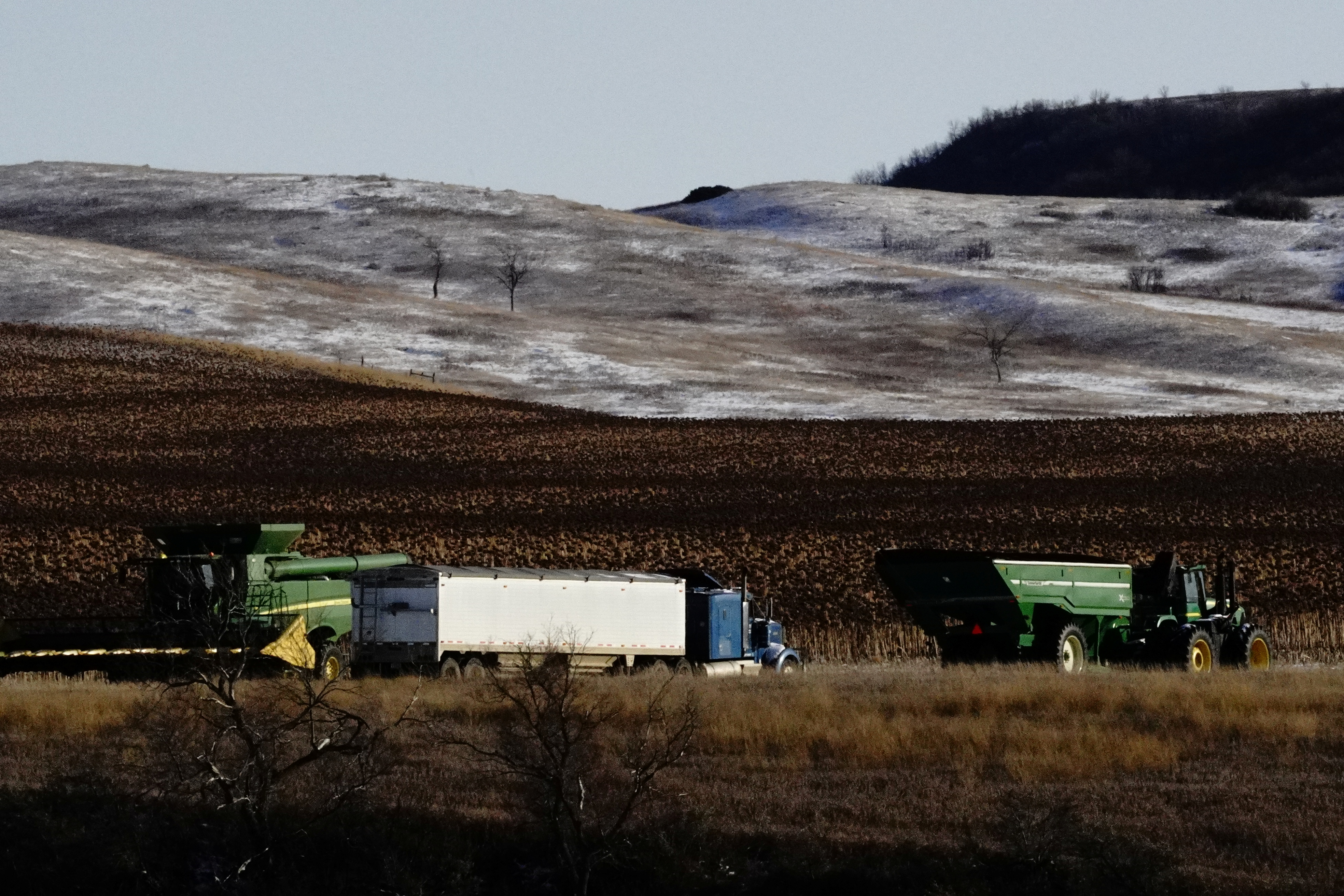An agricultural combine, tractor and trailer, and semi truck are parked alongside corn fields during the fall harvest as the coronavirus disease (COVID-19) outbreak continues in Livonia, North Dakota, U.S., October 26, 2020. REUTERS/Bing Guan