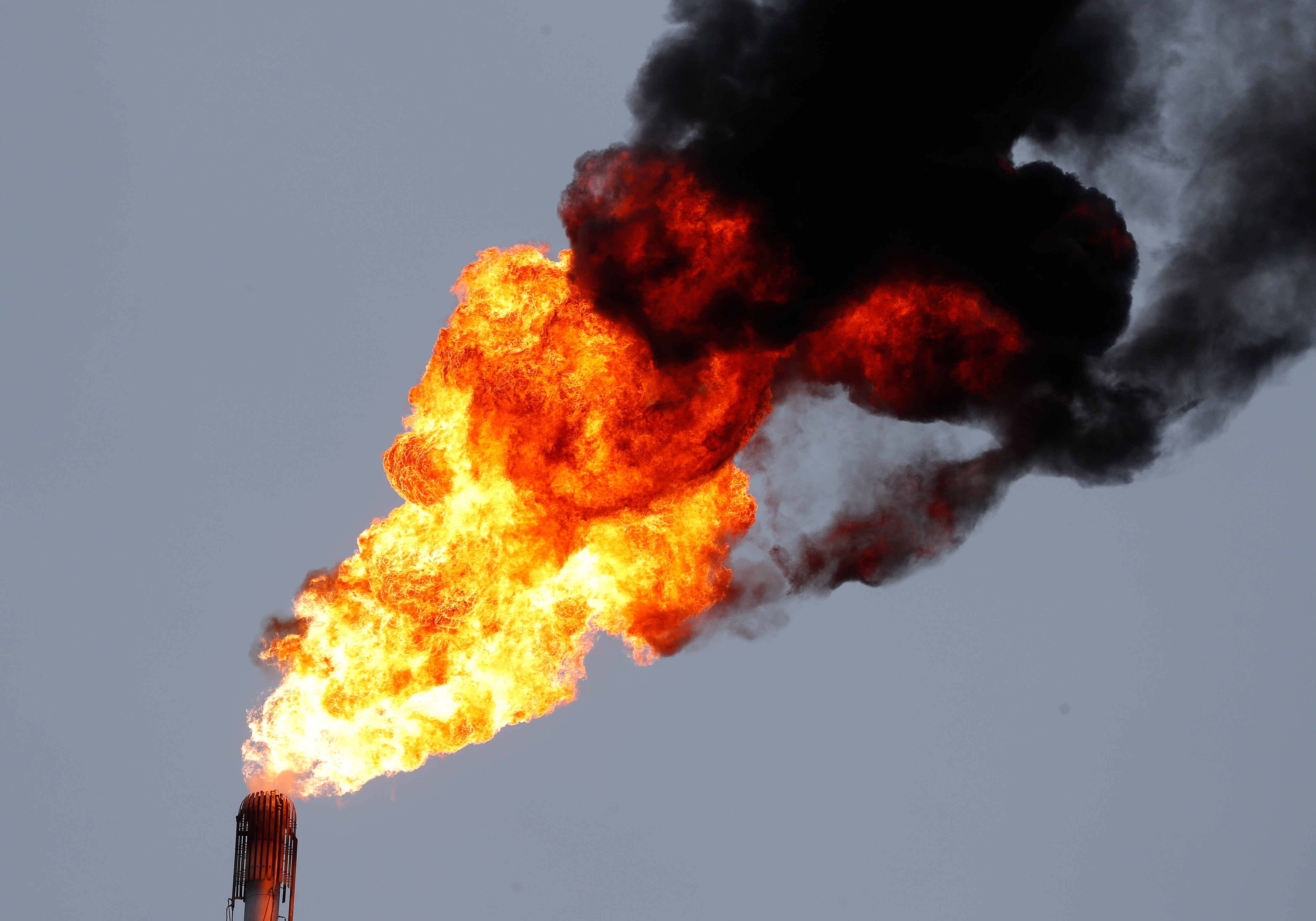 A flame burning natural gas is seen at the Joint stock company