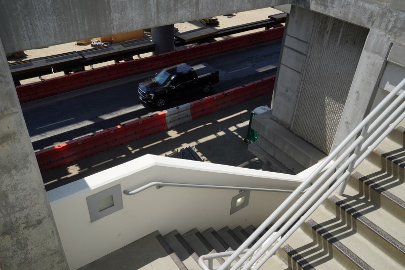 A pickup truck drives through areas under renovation at Los Angeles International Airport in the Westchester neighborhood of Los Angeles, California, U.S. August 10, 2021.  REUTERS/Bing Guan