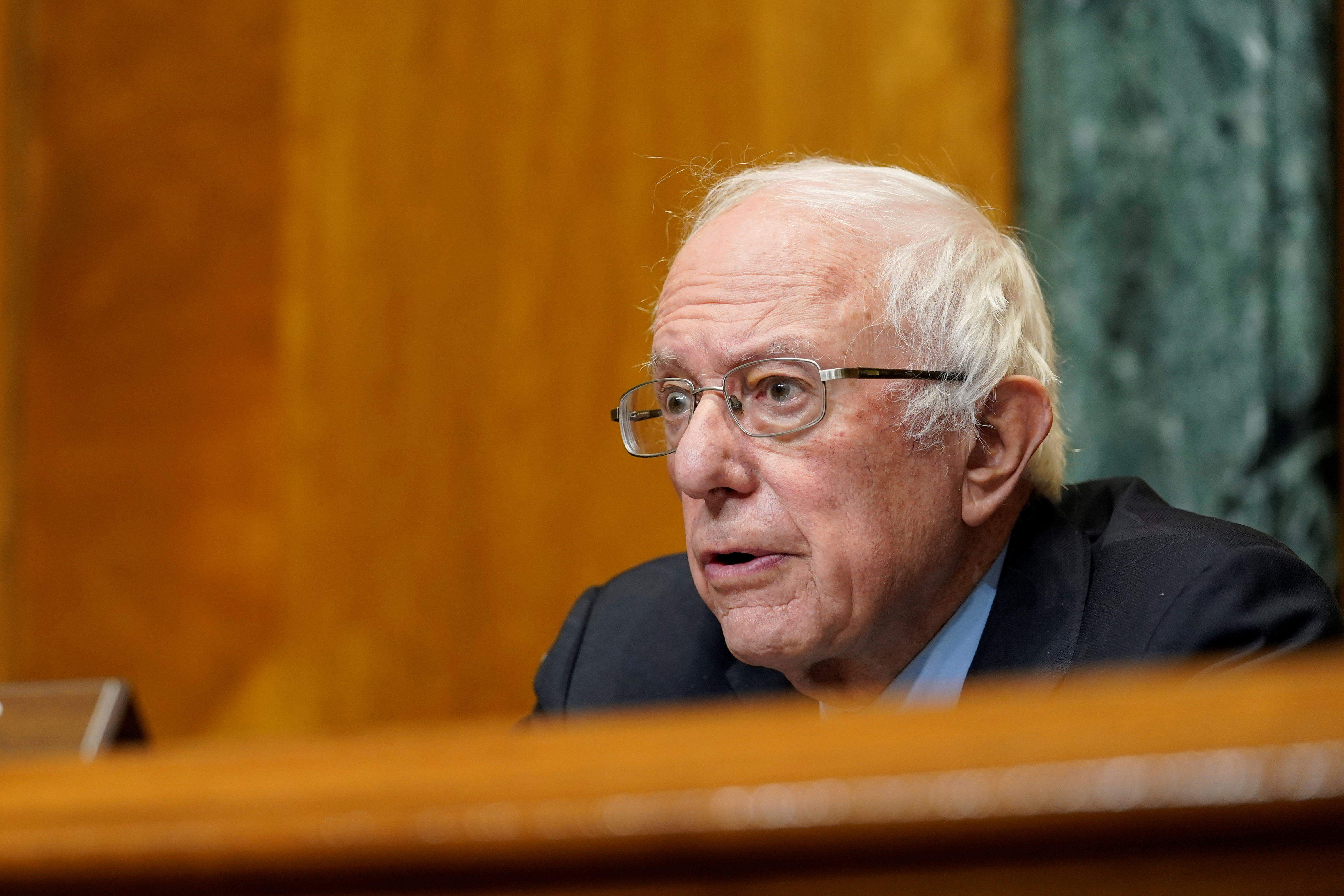 Senate Budget Committee Chairman Sen. Bernie Sanders, I-Vt., speaks during a hearing examining wages at large profitable corporations on Capitol Hill in Washington, U.S. February 25, 2021. Susan Walsh/Pool via REUTERS