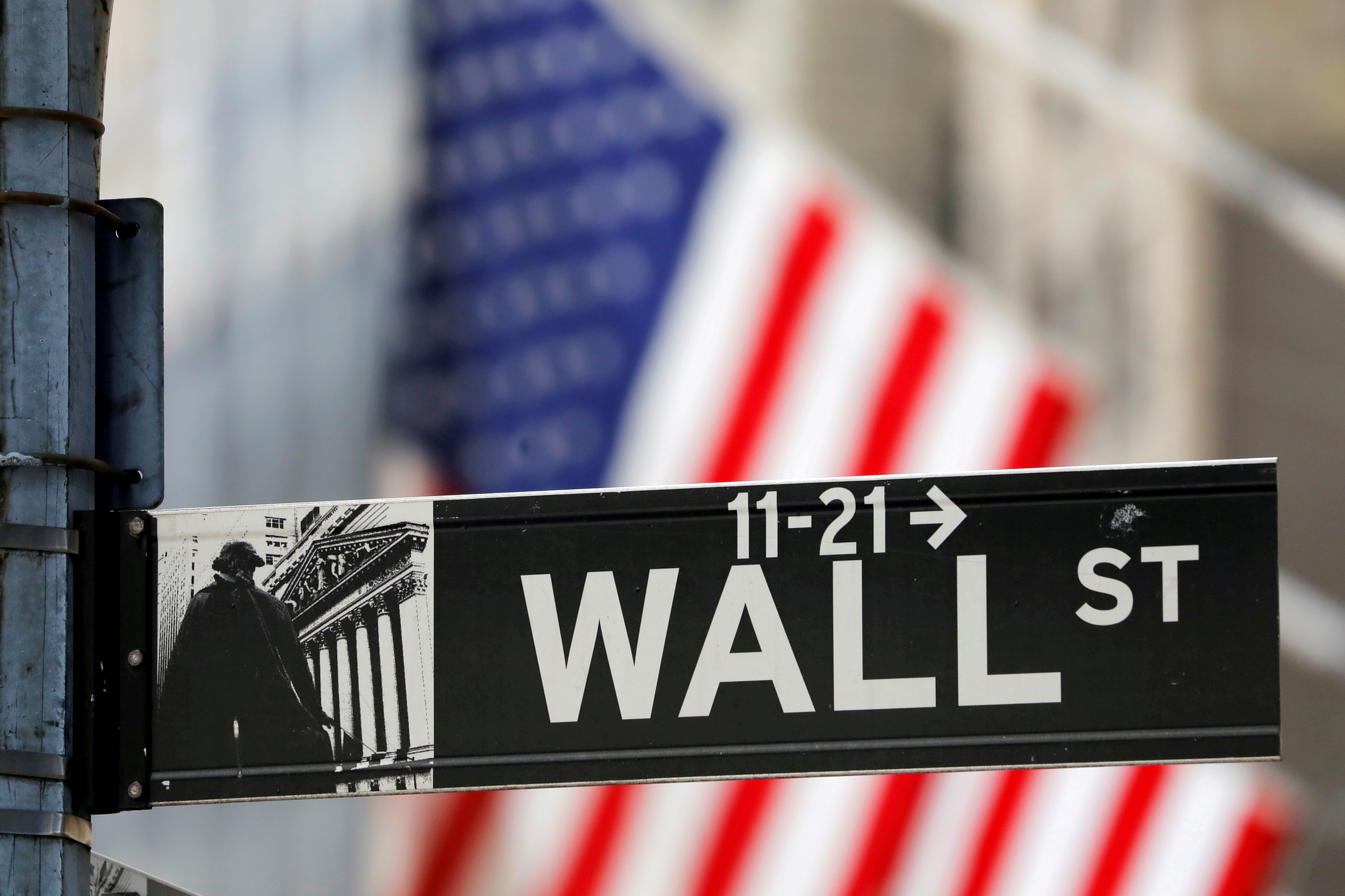 A street sign for Wall Street is seen outside the New York Stock Exchange (NYSE) in New York City, New York, U.S., July 19, 2021. REUTERS/Andrew Kelly