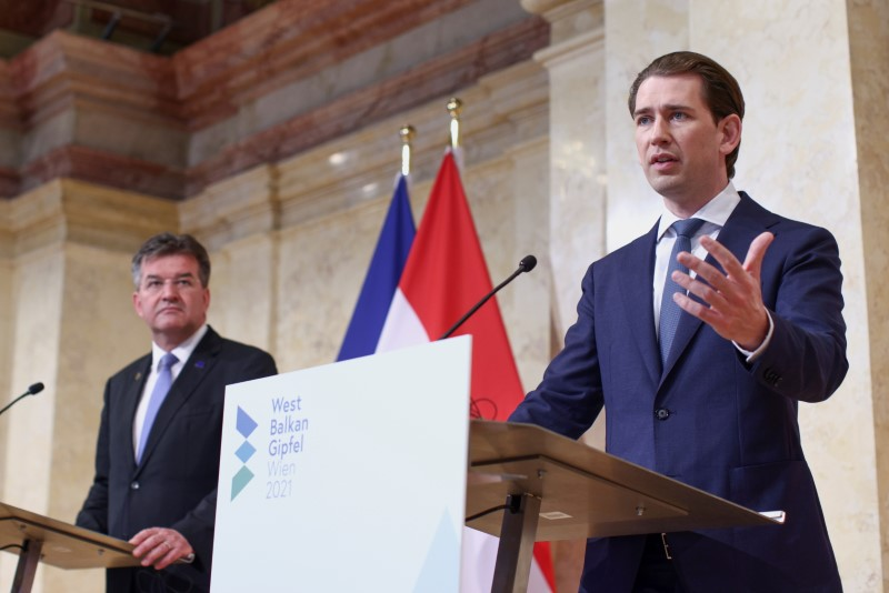 Austria's Chancellor Sebastian Kurz and EU Special Representative for Belgrade-Pristina Dialogue Miroslav Lajcak attend the Western Balkans conference at the Chancellery in Vienna, Austria, June 18, 2021. REUTERS/Lisi Niesner