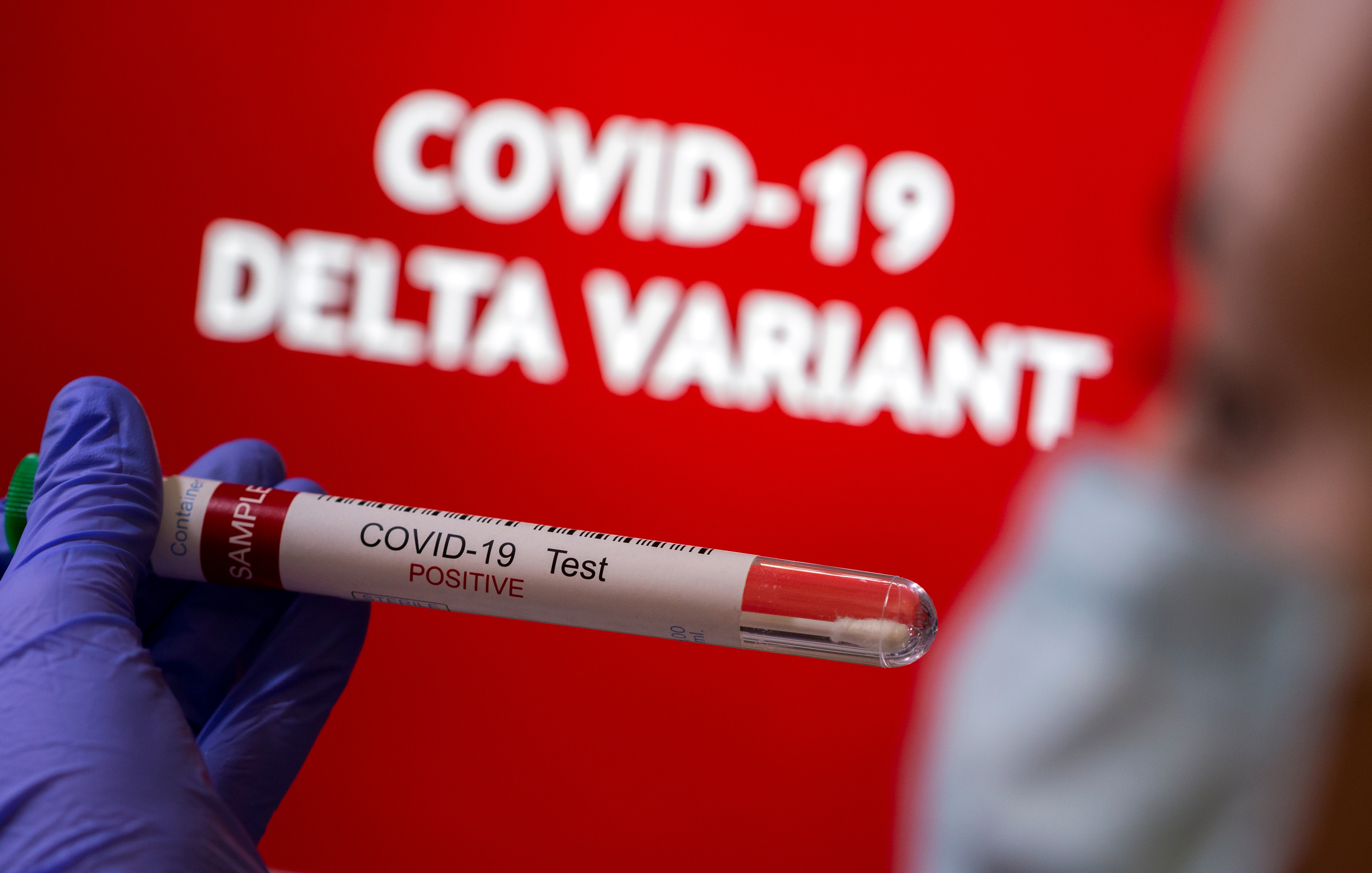 A person holds a test tube labelled 'COVID-19 Test Positive' in front of displayed words 'COVID-19 Delta variant' in this illustration taken August 31, 2021. REUTERS/Dado Ruvic/Illustration