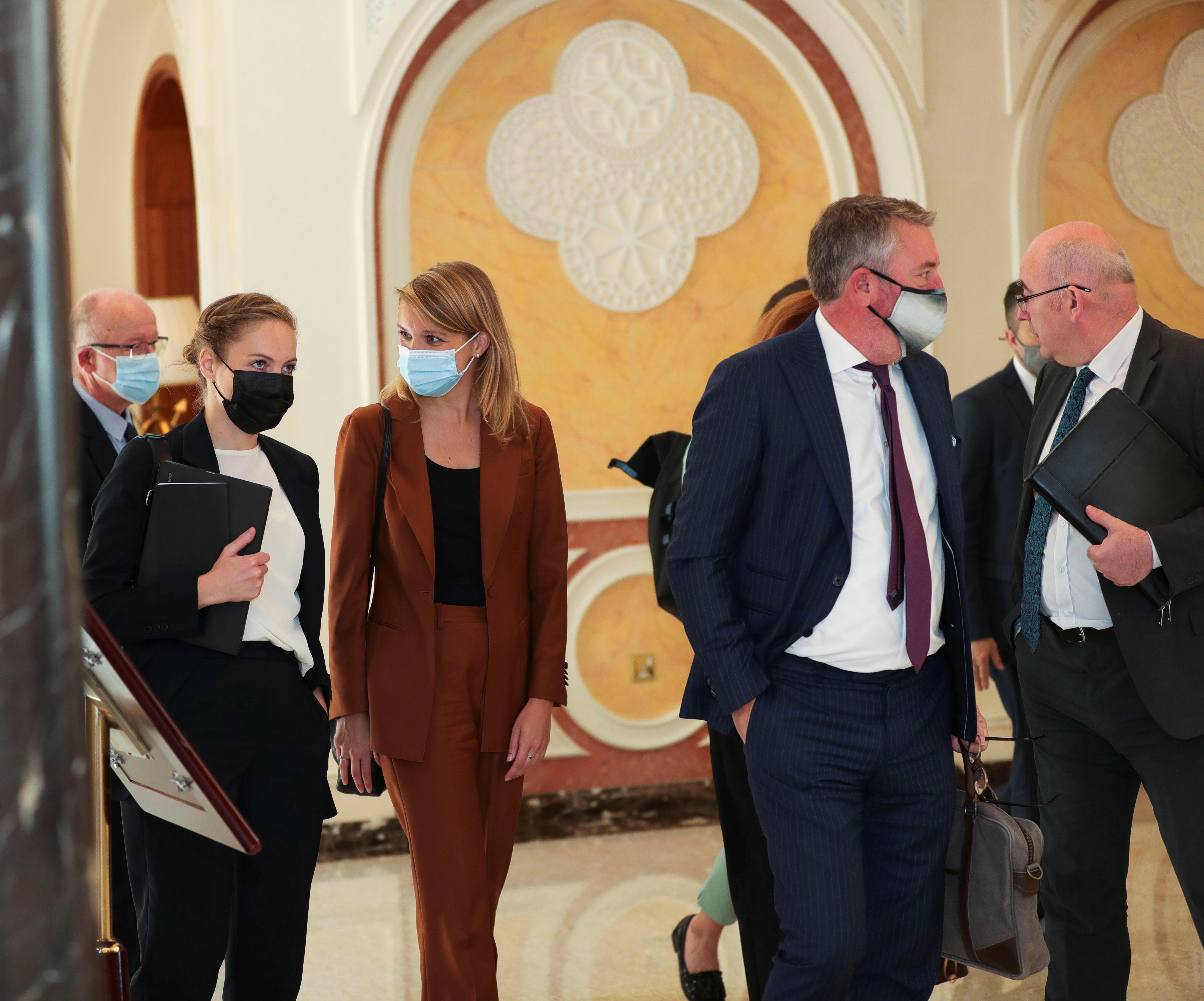 Foreign delegates arrive to meet with Taliban delegates in Doha, Qatar October 12, 2021. REUTERS/Stringer