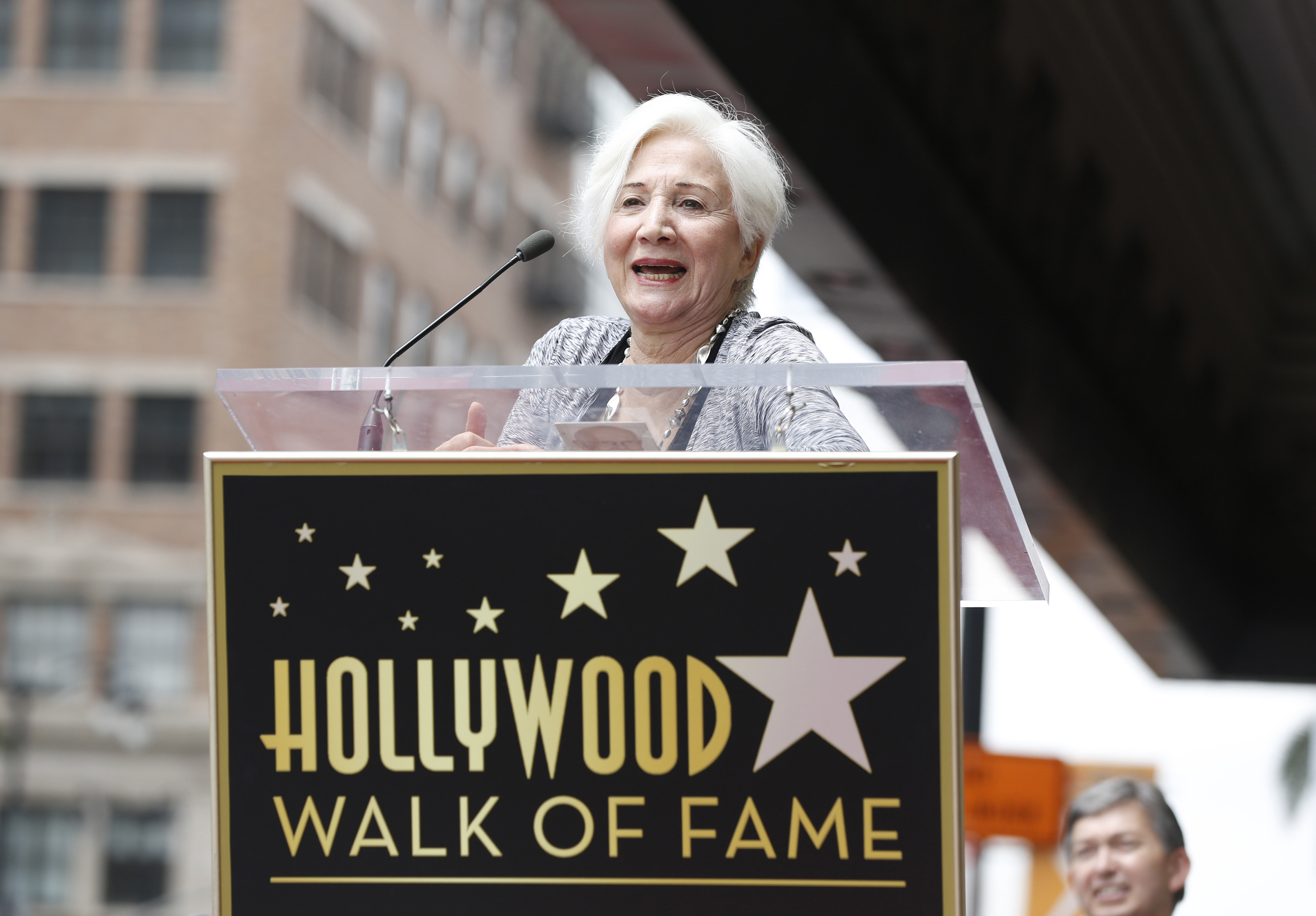 Actress Olympia Dukakis speaks at the ceremony for the unveiling of her star on the Walk of Fame in Los Angeles, California May 24, 2013.  REUTERS/Mario Anzuoni