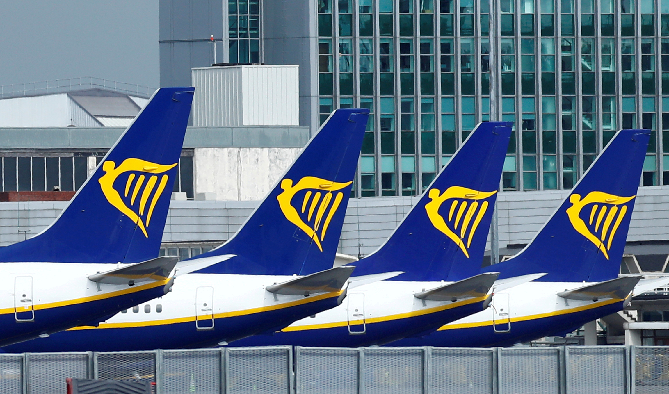 Ryanair planes are seen at Dublin Airport, following the outbreak of the coronavirus disease (COVID-19), Dublin, Ireland, May 1, 2020. REUTERS/Jason Cairnduff