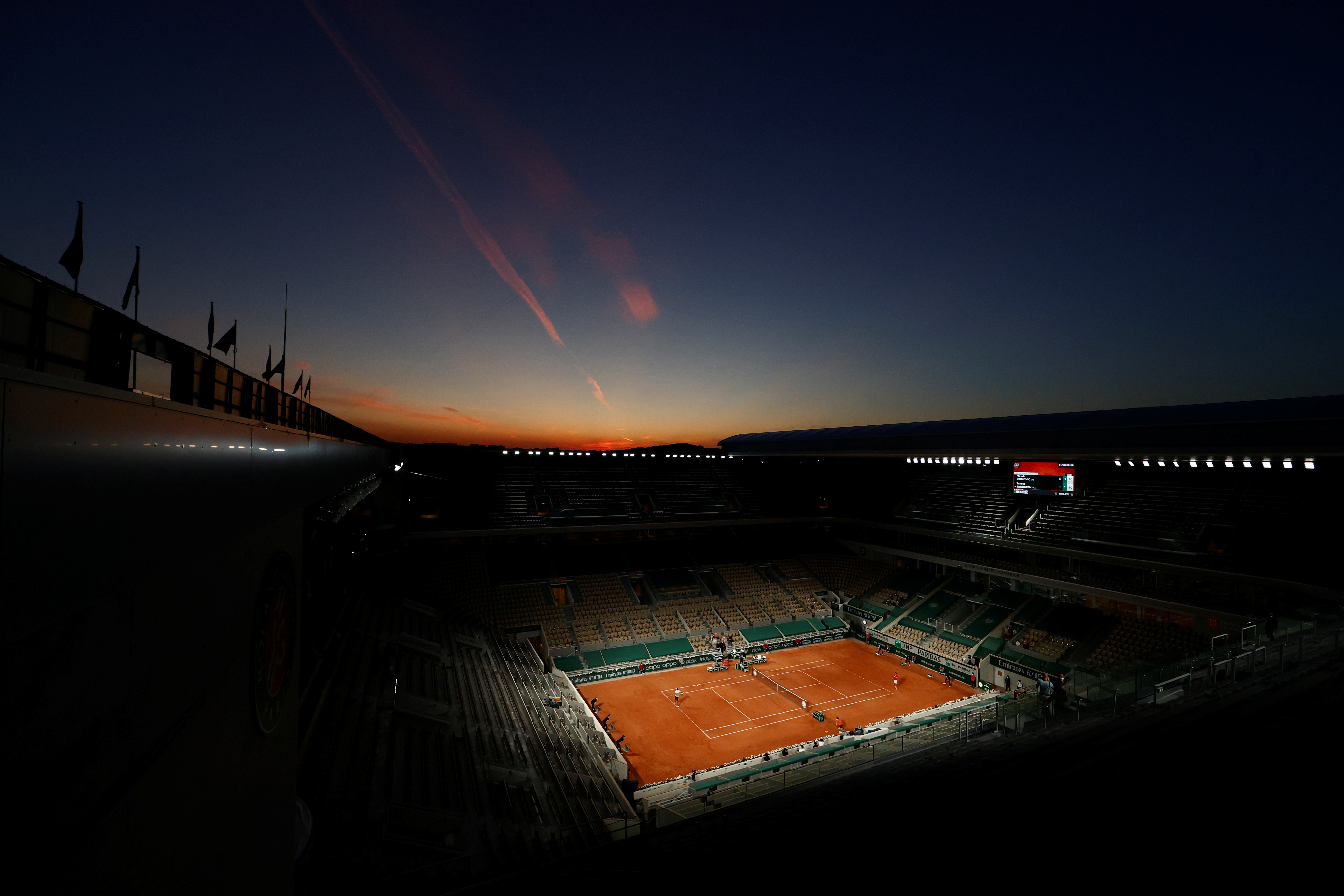 Tennis - French Open - Roland Garros, Paris, France - June 1, 2021 General view of the court during the first round match between Serbia's Novak Djokovic and Tennys Sandgren of the U.S. REUTERS/Christian Hartmann