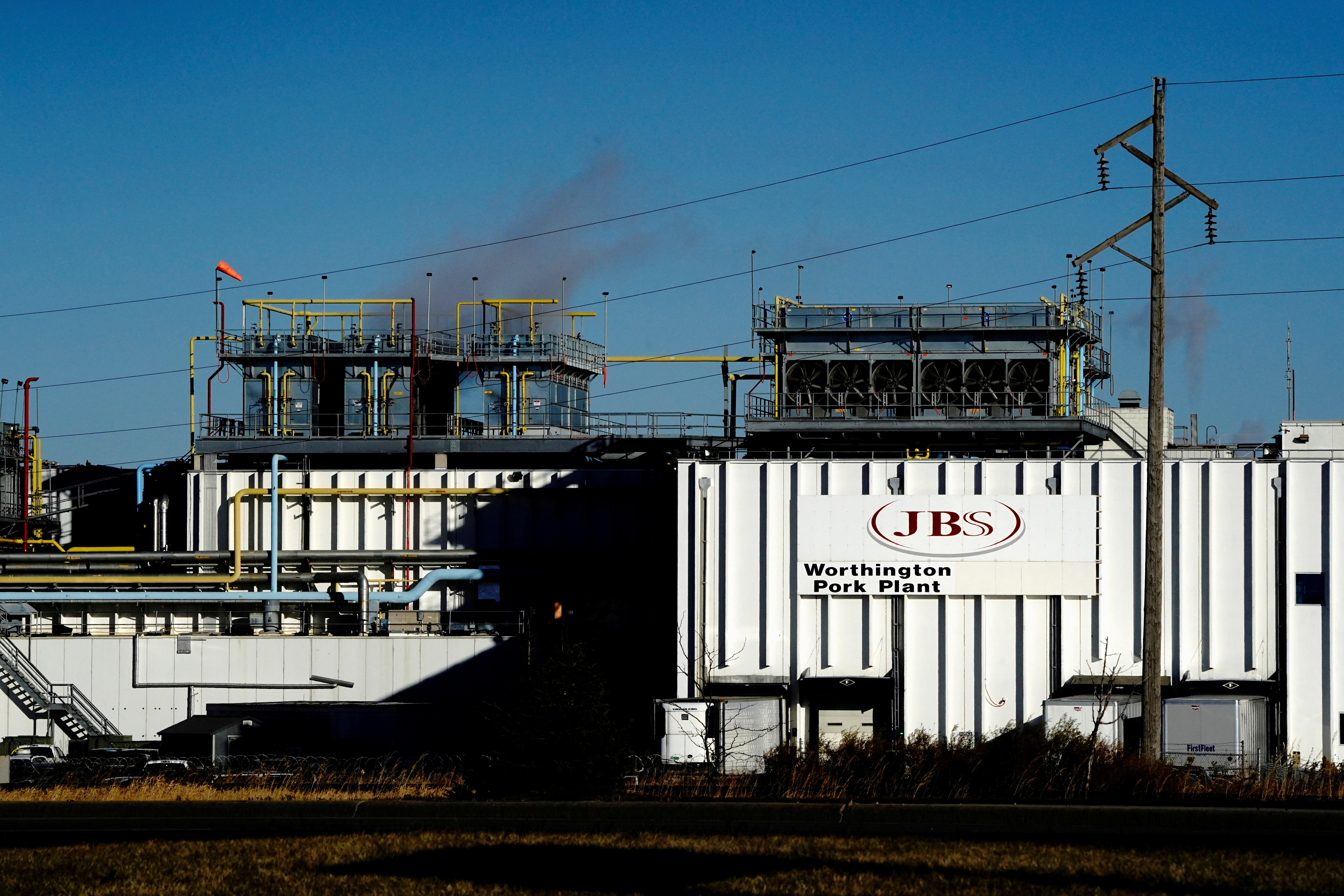 A general view of the JBS USA Worthington pork plant  in  Minnesota, U.S., October 28, 2020. REUTERS/Bing Guan/File Photo
