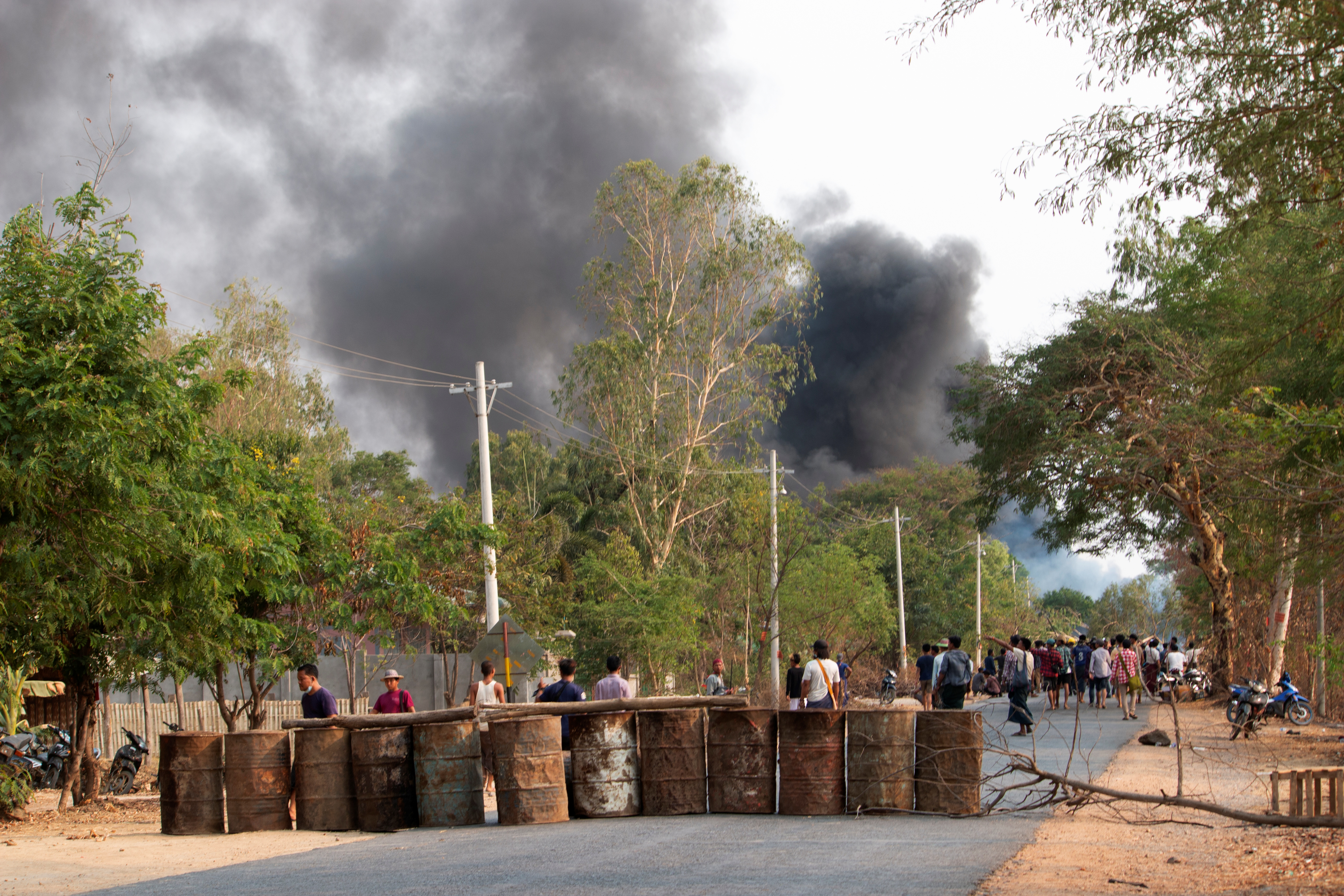 Demonstrators are seen before a clash with security forces in Taze, Sagaing Region, Myanmar April 7, 2021, in this image obtained by Reuters. Photo obtained by REUTERS.