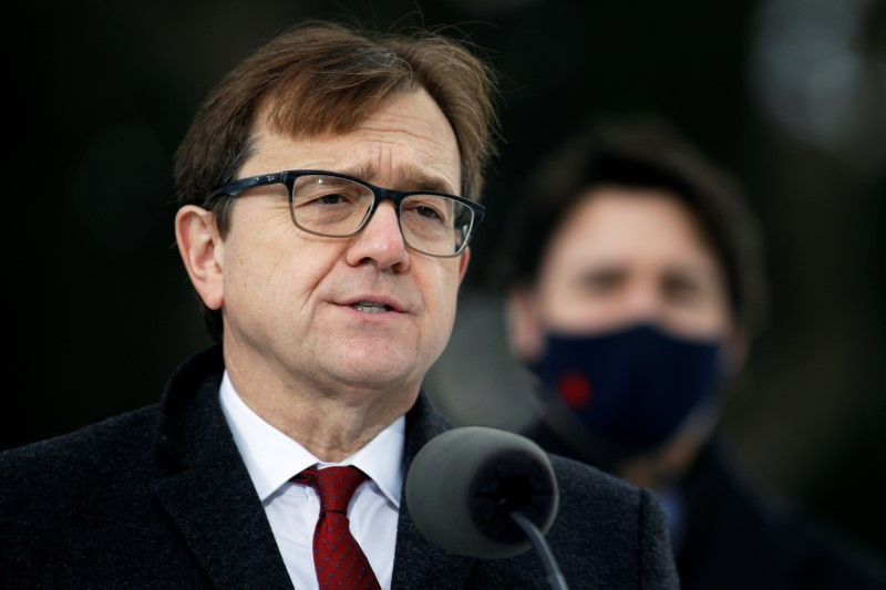 Canada's Minister of the Environment and Climate Change Jonathan Wilkinson attends a news conference at the Dominion Arboretum in Ottawa, Ontario, Canada December 11, 2020. REUTERS/Blair Gable