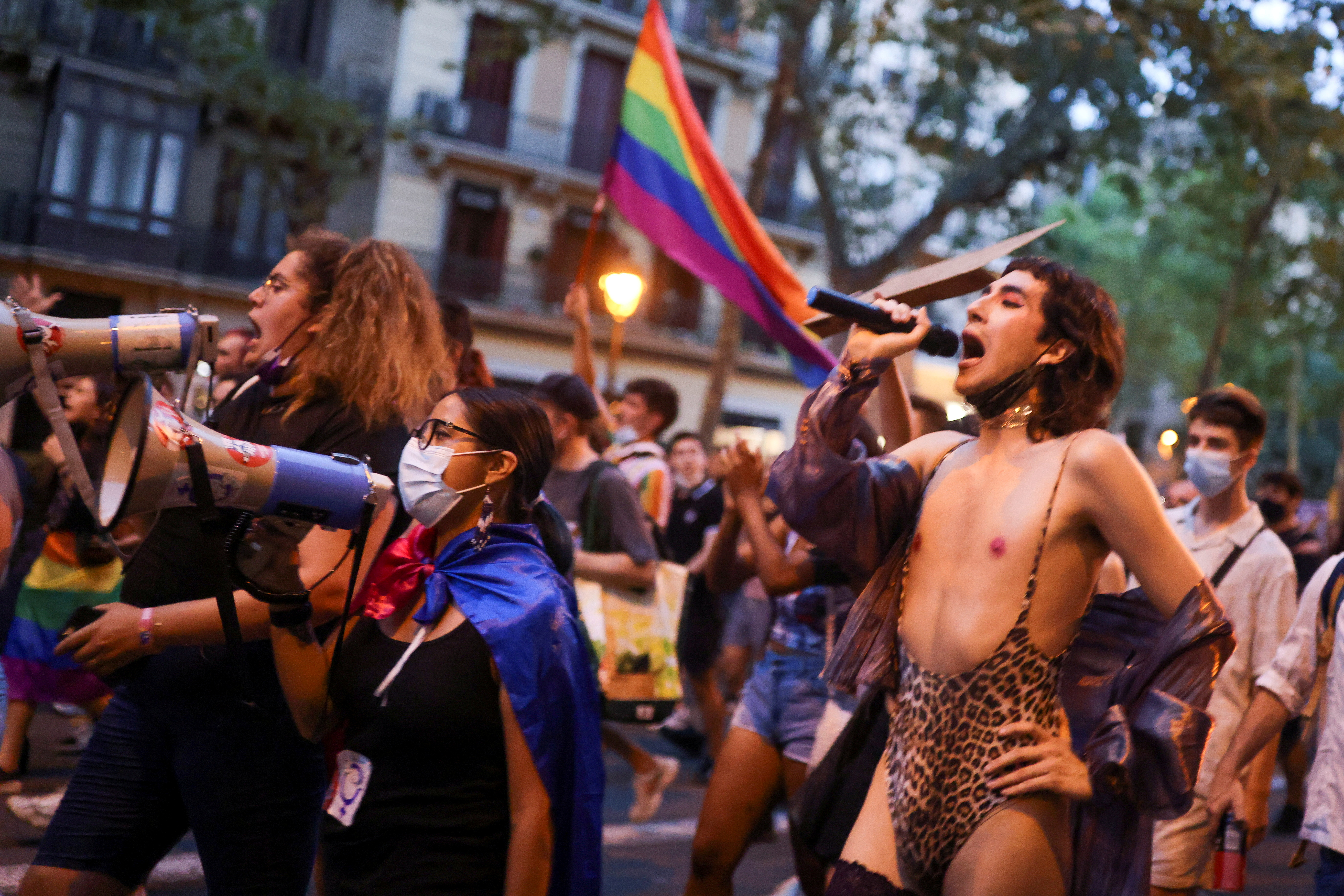 LGBT+ activists protest over the death of Samuel Luiz, who was attacked outside a club in A Coruna, in Barcelona, Spain July 5, 2021. REUTERS/Nacho Doce