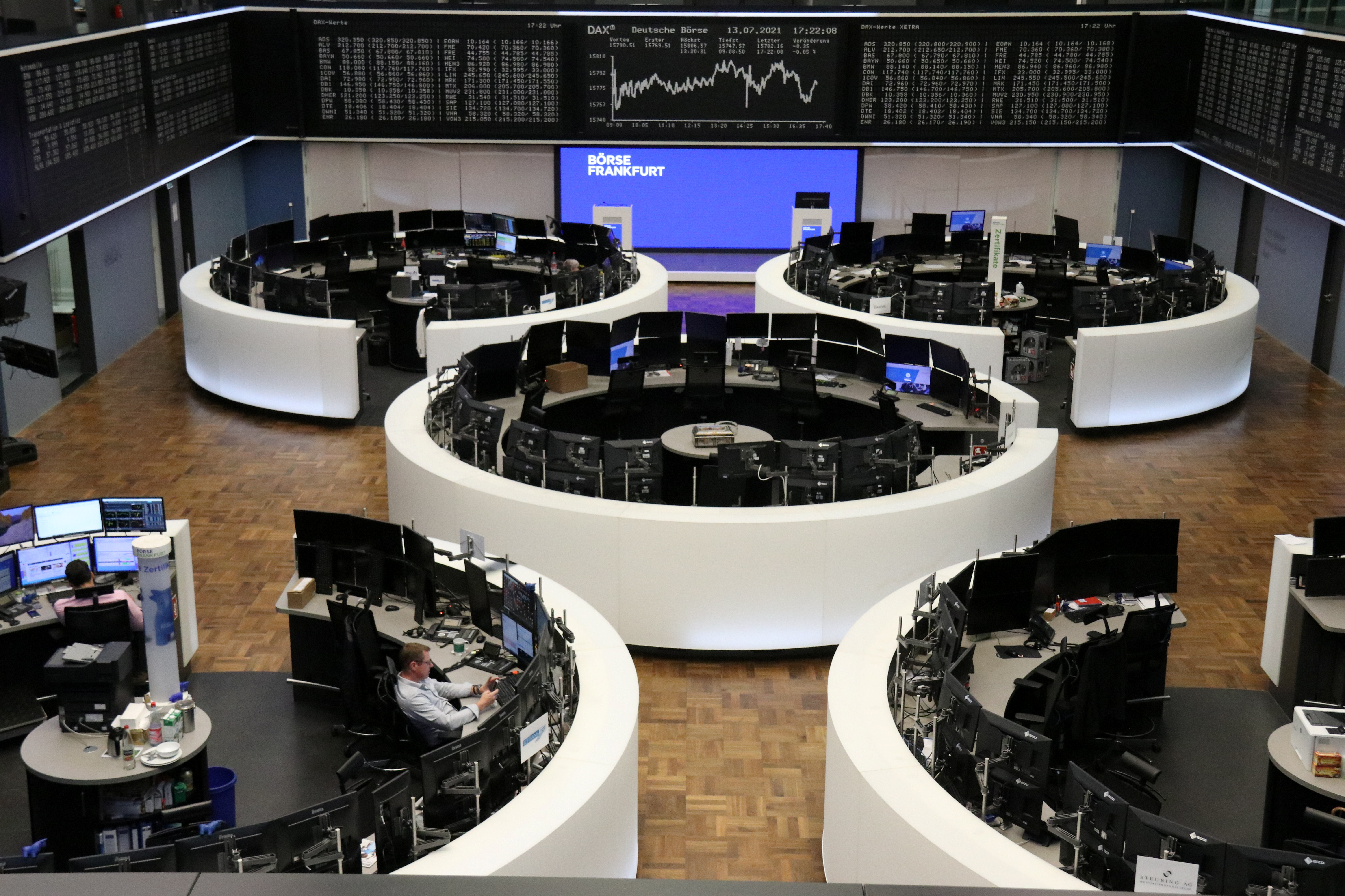 The German share price index DAX graph is pictured at the stock exchange in Frankfurt, Germany, July 13, 2021. REUTERS/Staff/File photo