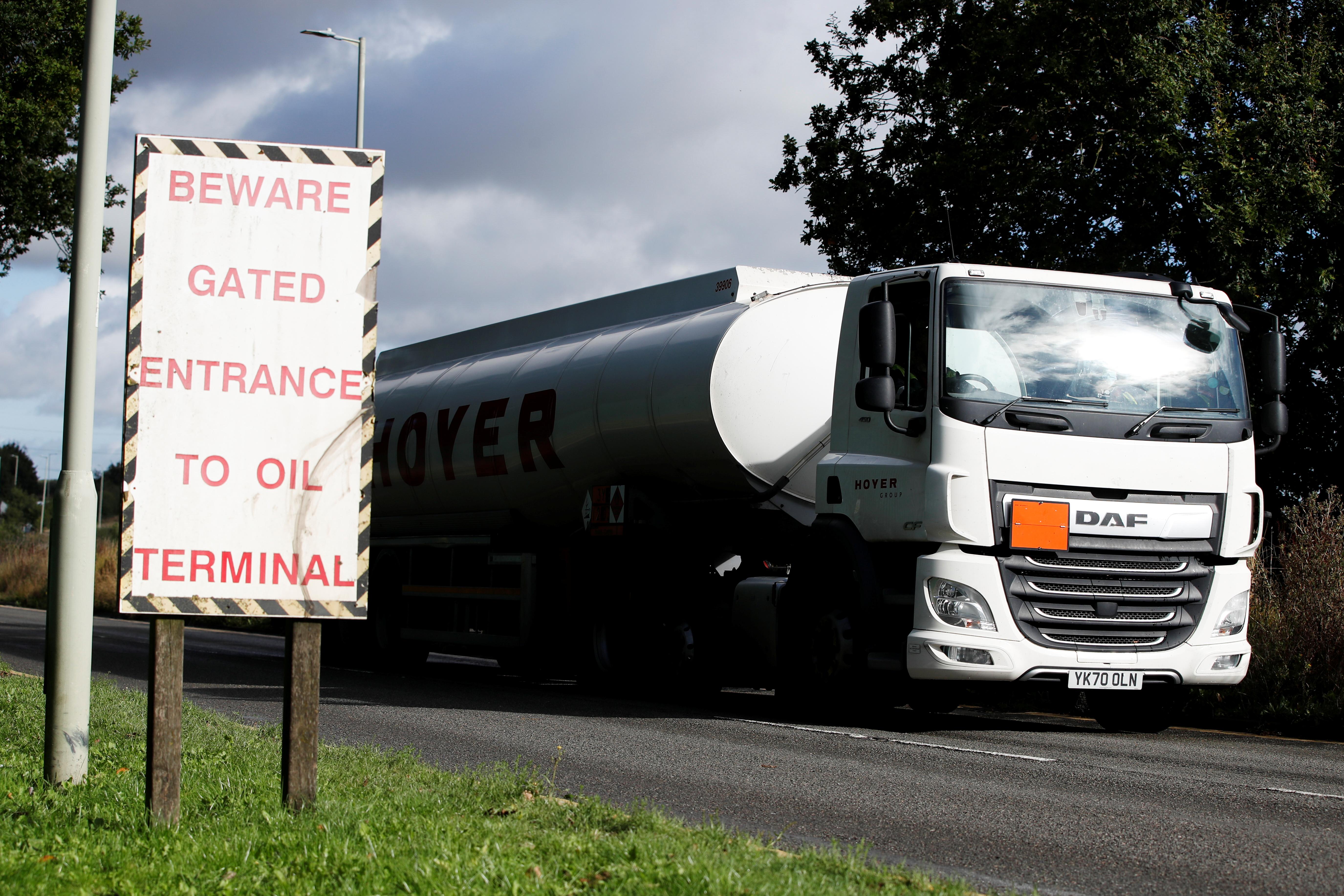 A fuel tanker leaves Buncefield Oil Depot, in Hemel Hempstead, Britain, October 4, 2021. REUTERS/Paul Childs