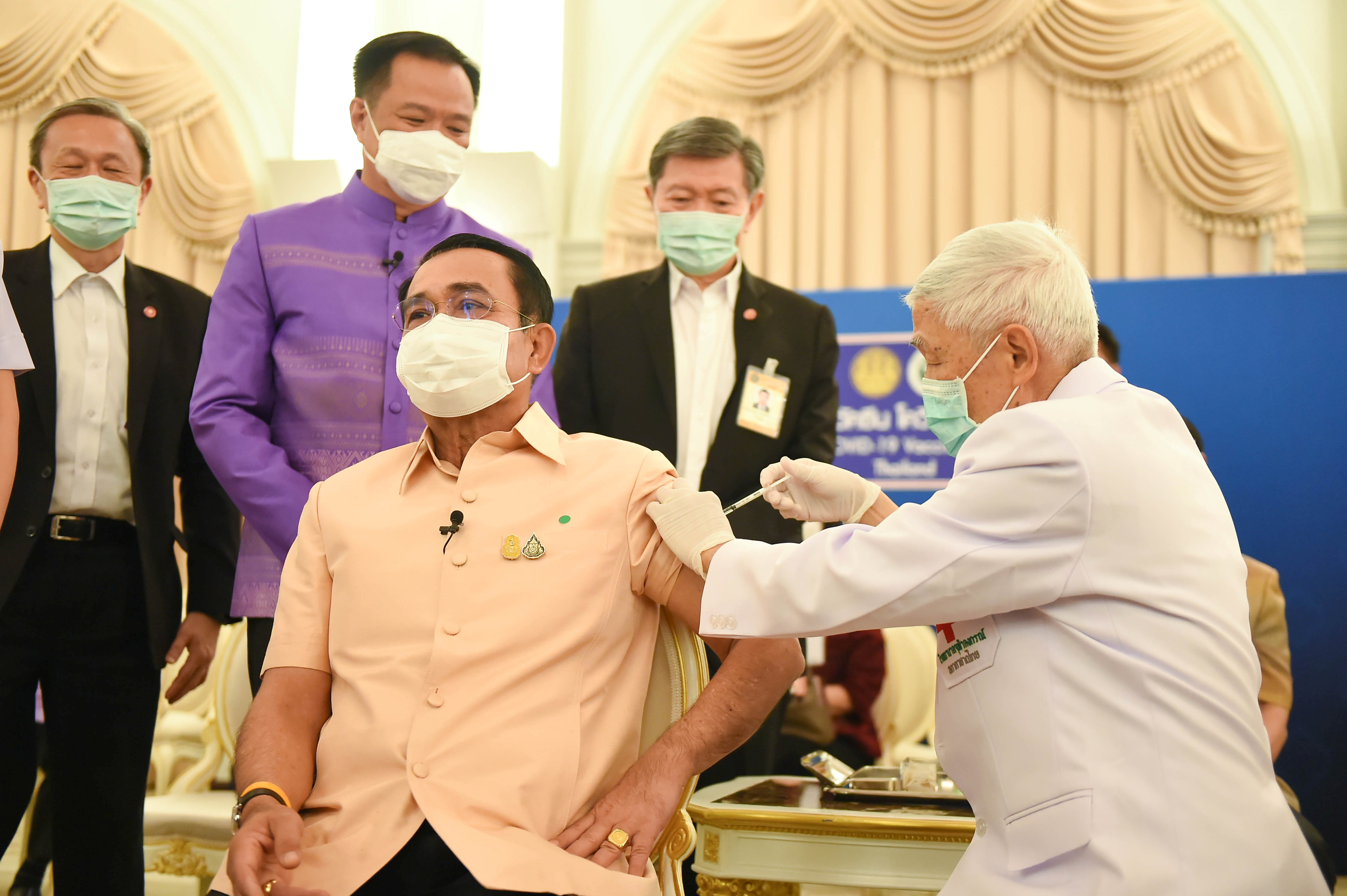 Thailand's Prime Minister Prayuth Chan-ocha receives an injection of the AstraZeneca coronavirus disease (COVID-19) vaccine at the Government House in Bangkok, Thailand, March 16, 2021. Thailand Government House/Handout via REUTERS