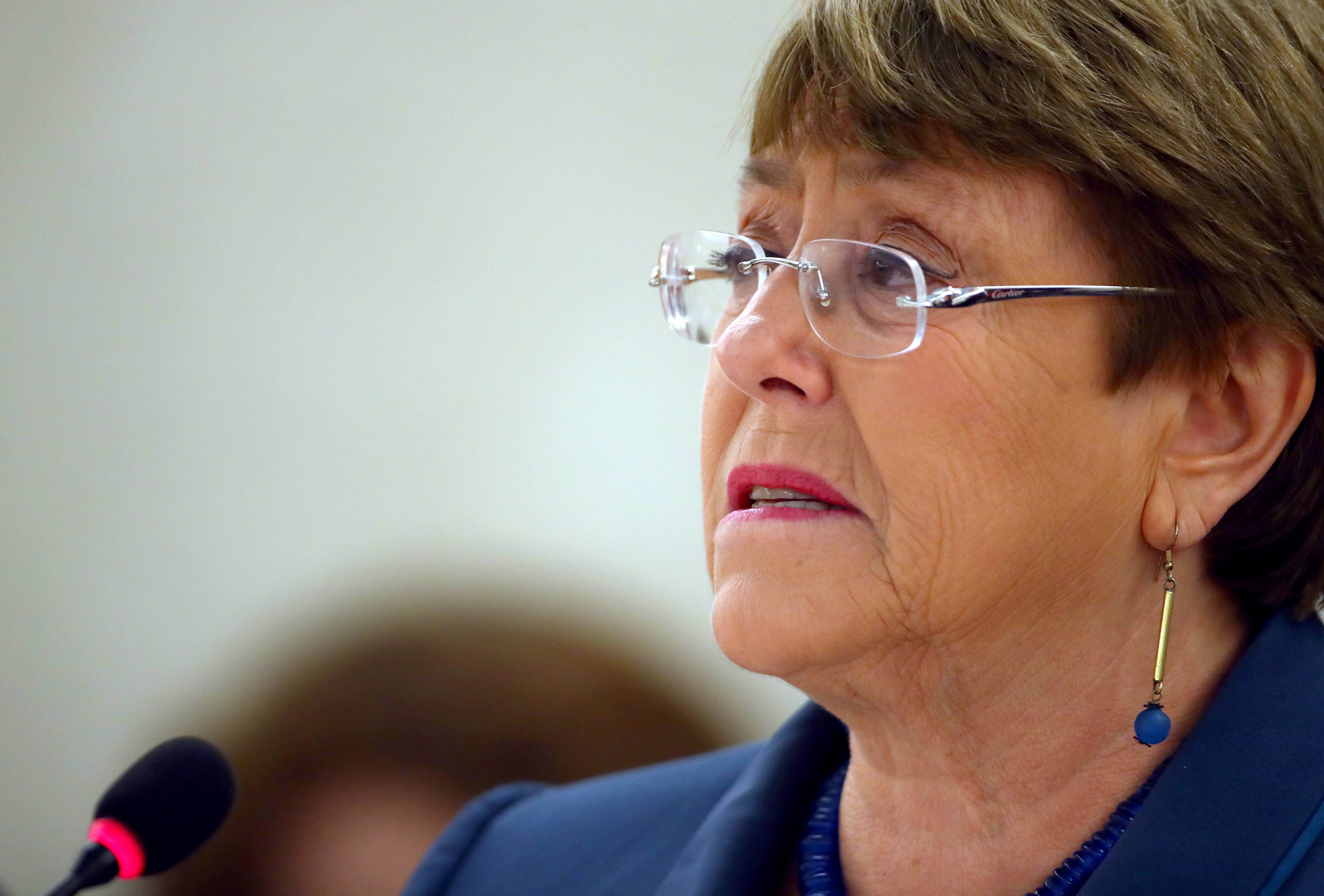United Nations High Commissioner for Human Rights Michelle Bachelet attends a session of the Human Rights Council at the United Nations in Geneva, Switzerland, February 27, 2020. REUTERS/Denis Balibouse
