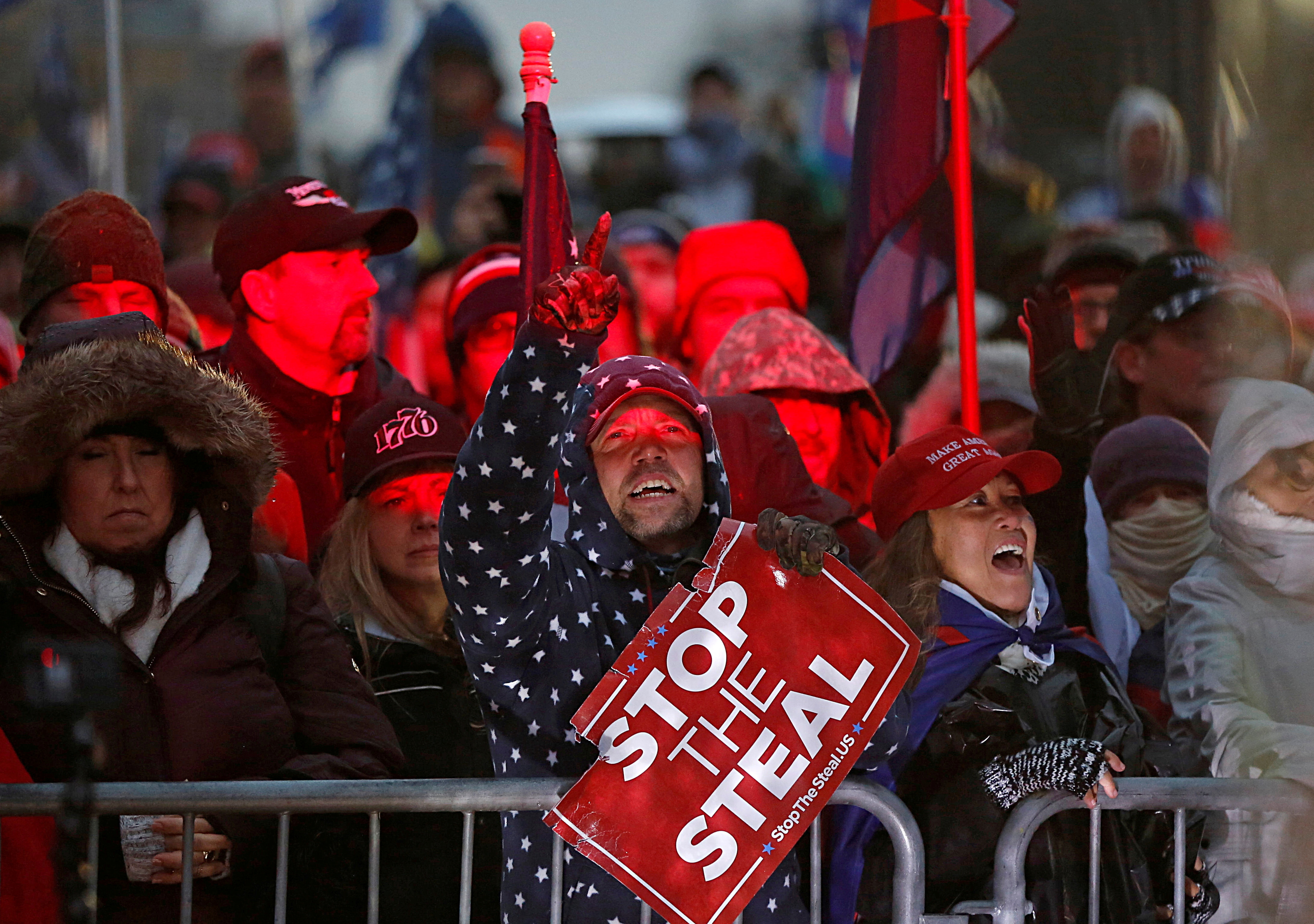 Supporters of U.S. President Donald Trump gather at a rally at Freedom Plaza, ahead of the U.S. Congress certification of the November 2020 election results, during protests in Washington, U.S., January 5, 2021. REUTERS/Jim Urquhart/File Photo