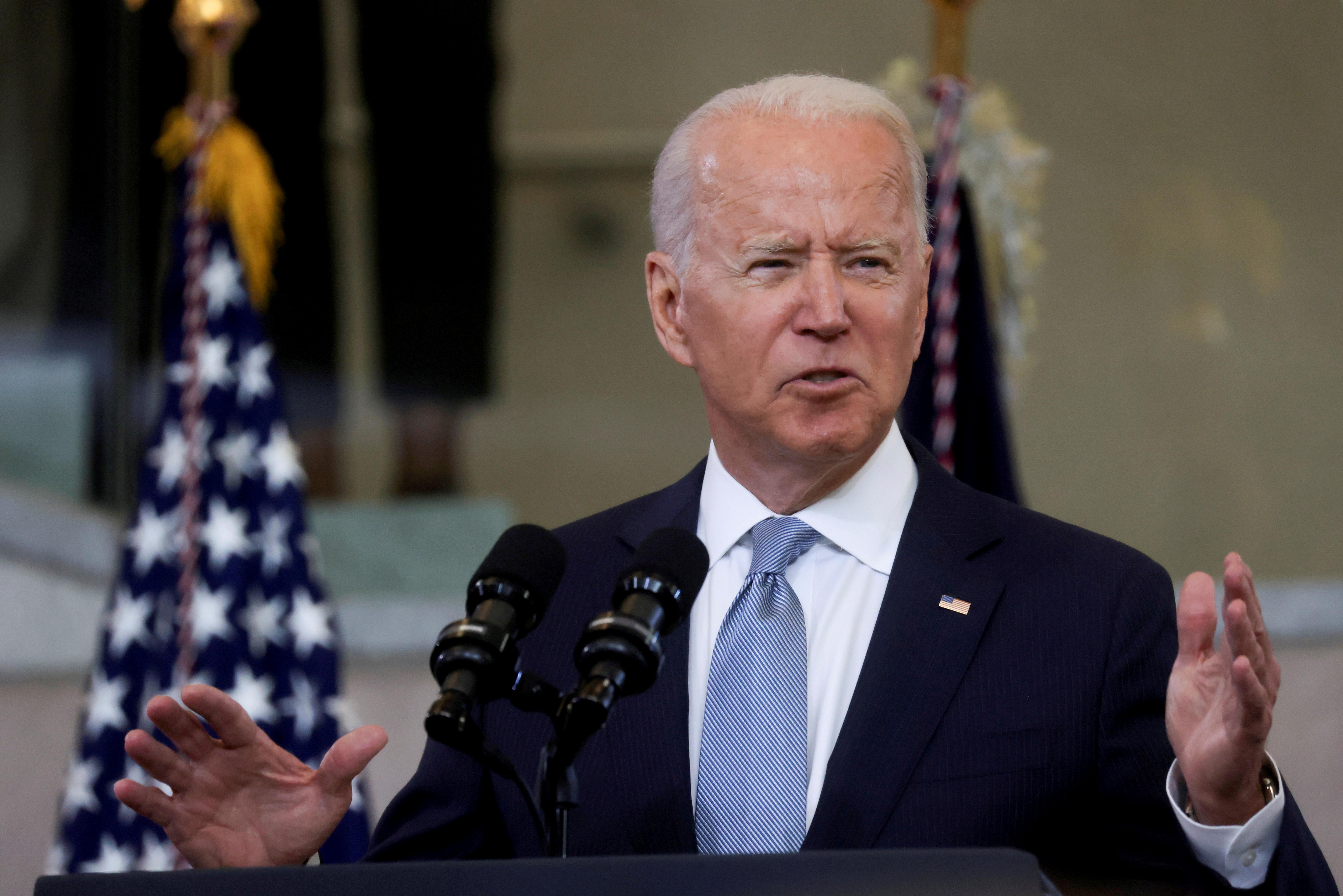 U.S. President Joe Biden delivers remarks in a speech at National Constitution Center in Philadelphia, Pennsylvania, U.S., July 13, 2021. REUTERS/Leah Millis