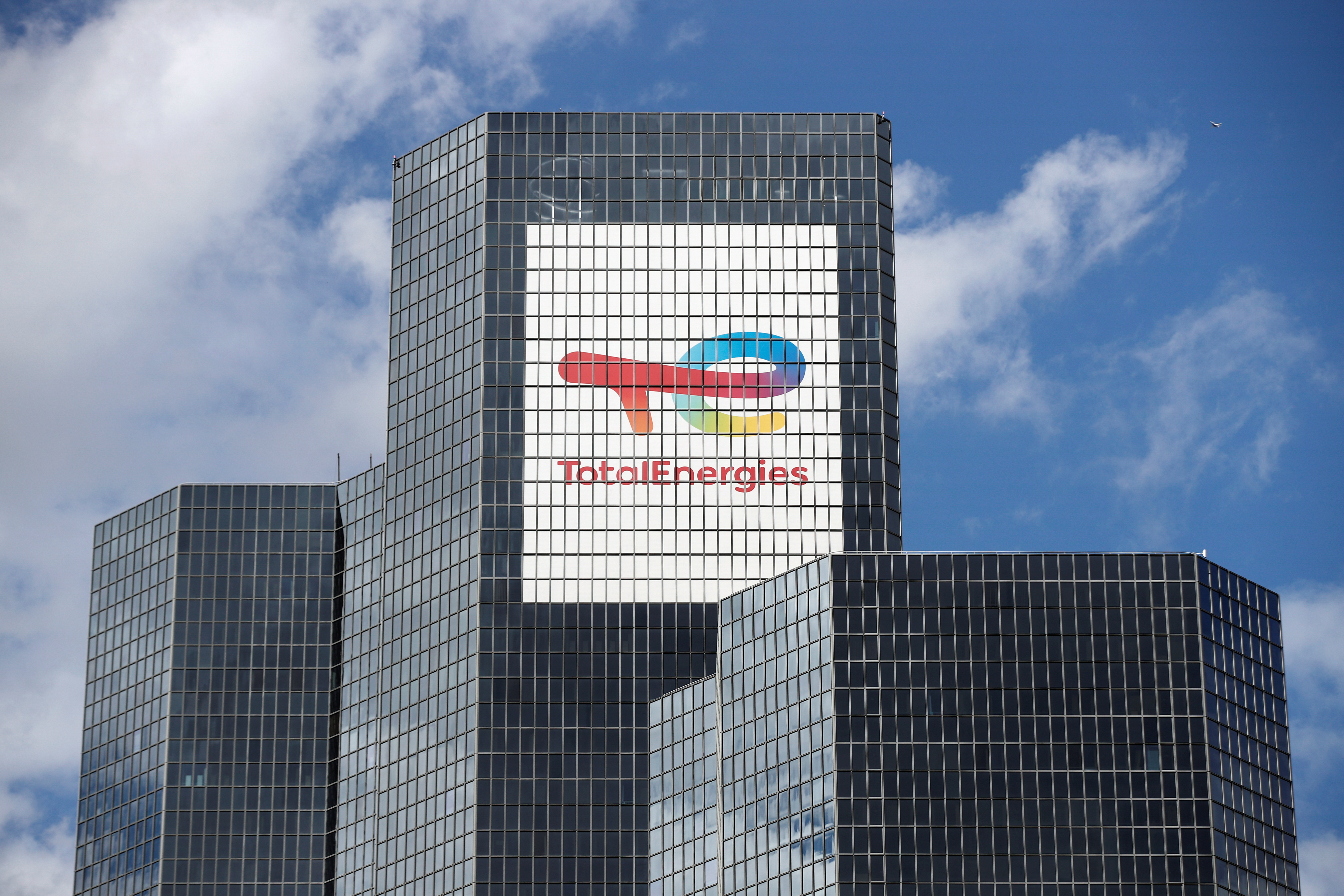 A general view of a logo on the TotalEnergies headquarters in the La Defense business district in Paris, France, July 28, 2021. REUTERS/Benoit Tessier