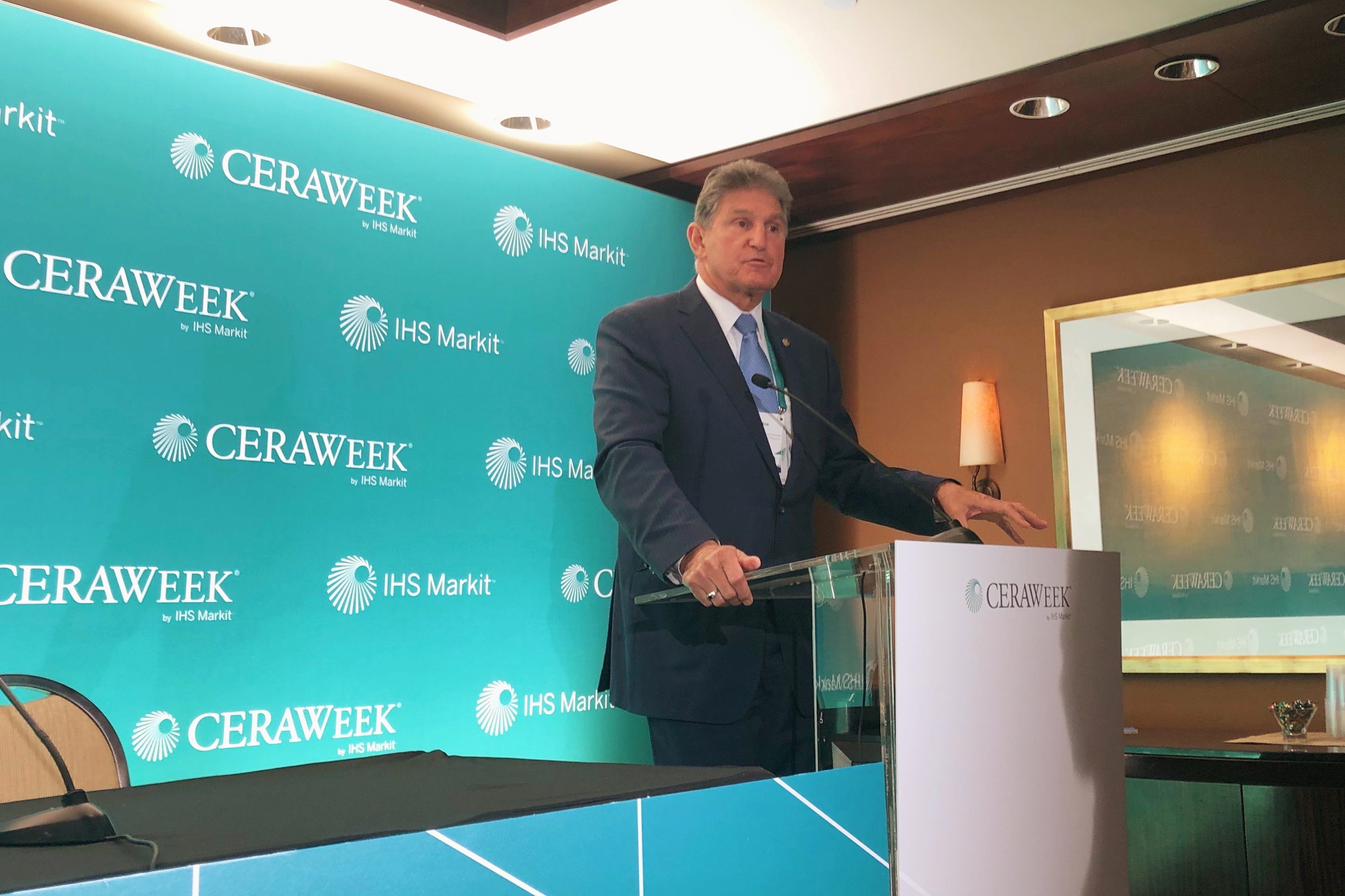 U.S. Senator Joe Manchin (D-WV), speaks with reporters about U.S. energy policy and climate change at the IHS Markit CERAWeek conference in Houston, Texas, U.S., March 11, 2019.  REUTERS/David Gaffen