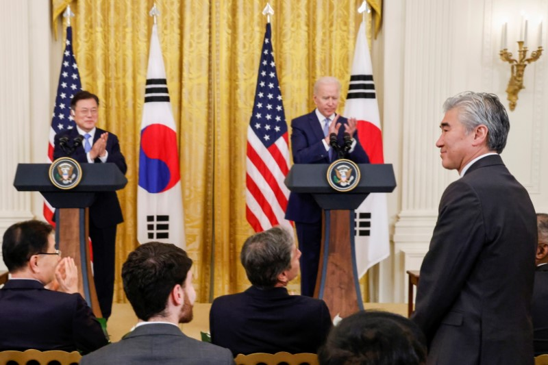 U.S. State Department official Sung Kim stands after U.S. President Joe Biden announced Kim will serve as a special U.S. envoy for North Korea during a joint news conference with South Korea's President Moon Jae-in after a day of meetings at the White House, in Washington, U.S. May 21, 2021.  REUTERS/Jonathan Ernst