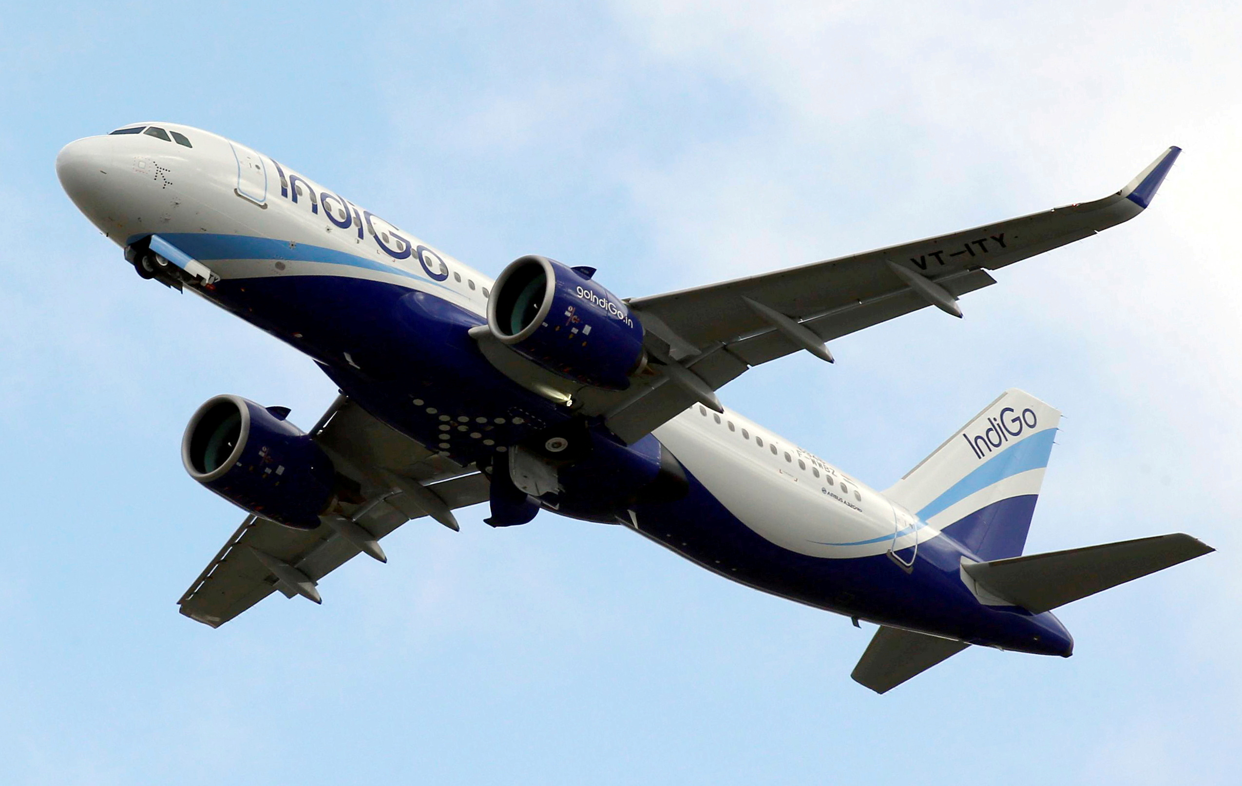 An IndiGo Airlines Airbus A320 aircraft takes off in Colomiers near Toulouse, France, October 19, 2017. REUTERS/Regis Duvignau/File Photo