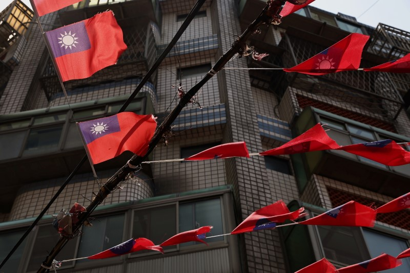 Taiwan flags hang above the streets in Taoyuan, Taiwan, May 13, 2021. REUTERS/Ann Wang