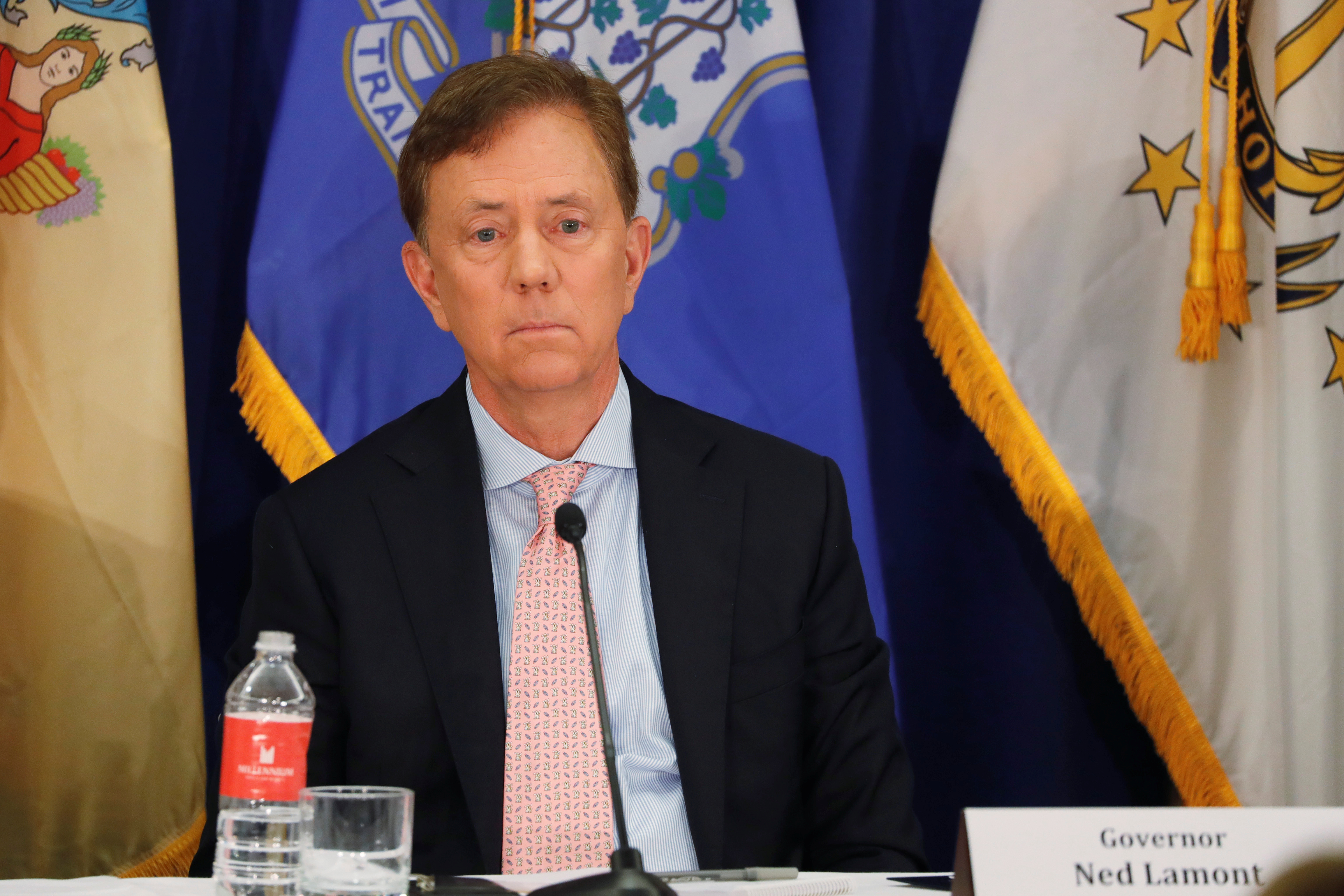 Connecticut Governor Ned Lamont takes part in a regional cannabis and vaping summit in New York City, New York, U.S., October 17, 2019. REUTERS/Lucas Jackson