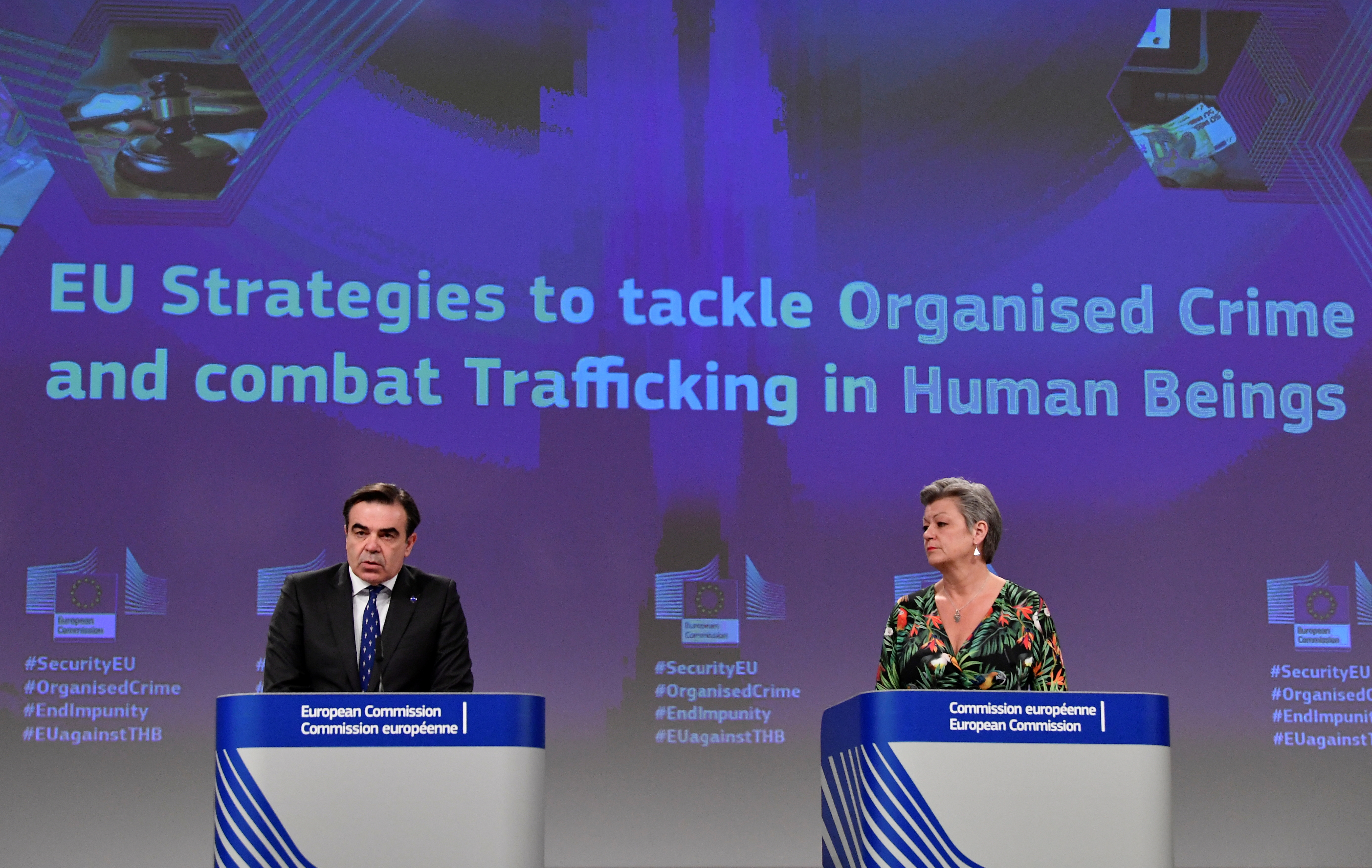 EU Commission Vice-President Margaritis Schinas and European Commissioner for Home Affairs Ylva Johansson attend a news conference at the EU headquarters in Brussels, Belgium April 14, 2021. John Thys/Pool via REUTERS