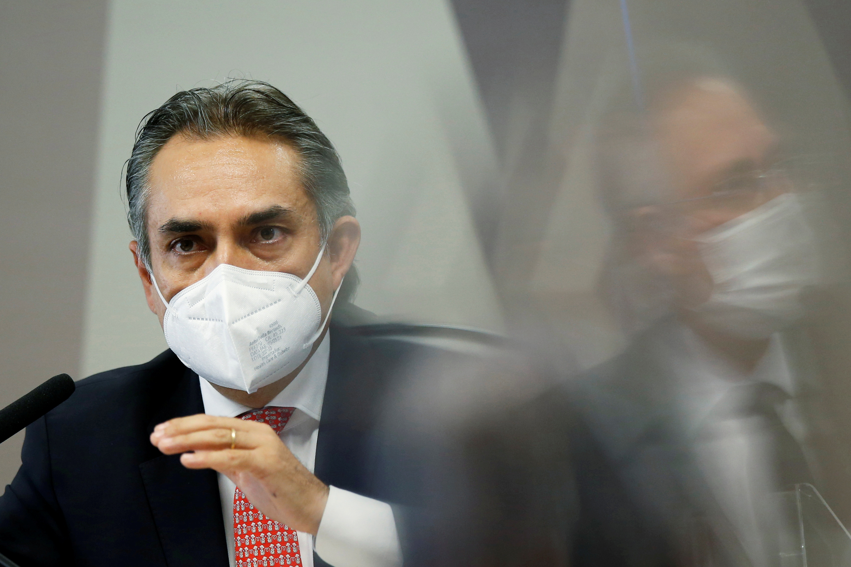 President of Pfizer Latin Americal, Carlos Murillo speaks during a meeting of the Parliamentary Inquiry Committee (CPI) to investigate government actions and management during the coronavirus disease (COVID-19) pandemic, at the Federal Senate in Brasilia, Brazil May 13, 2021. REUTERS/Adriano Machado