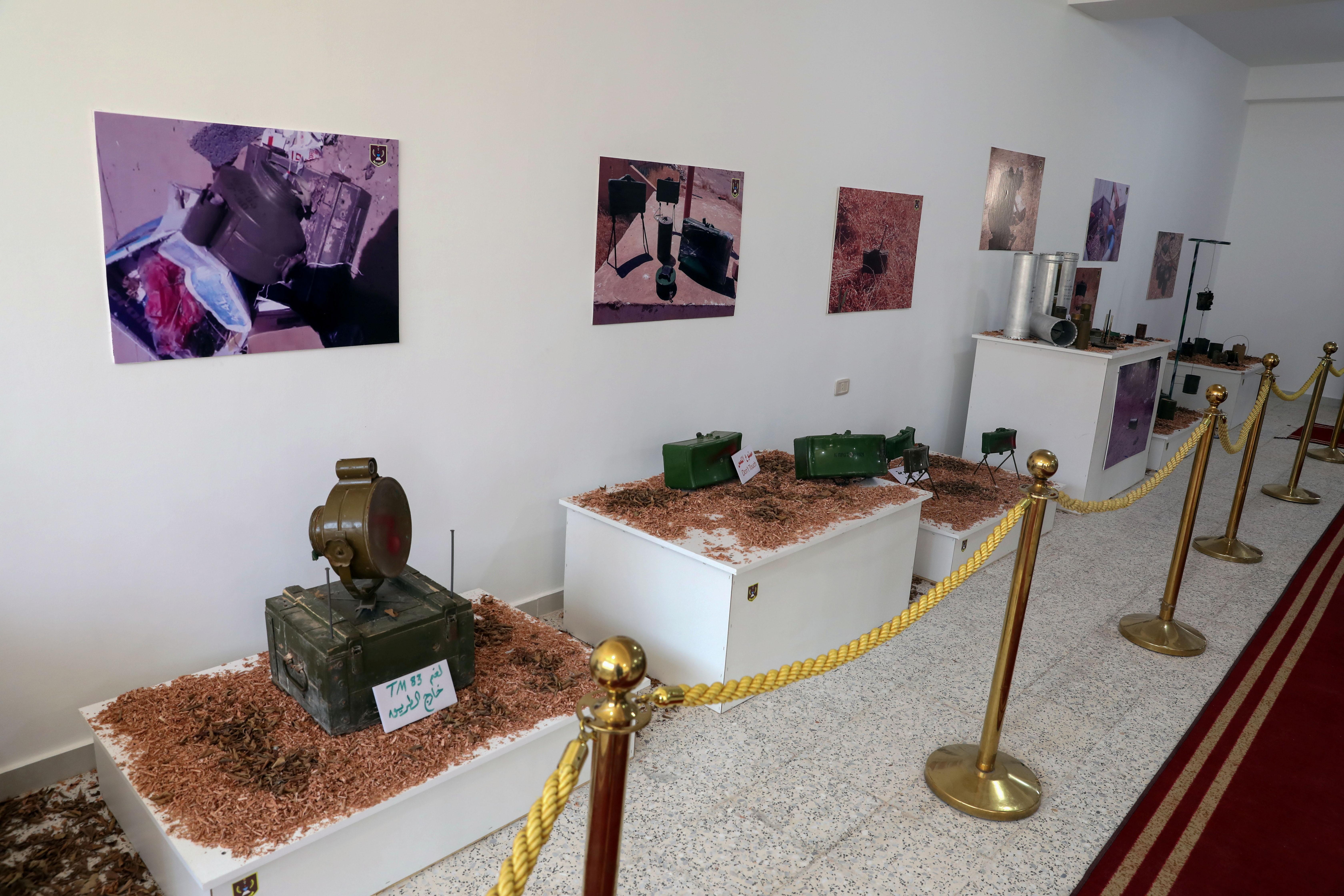 Mines are displayed at a military exhibiton inTripoli, Libya, July 9, 2020. REUTERS/Hazem Ahmed