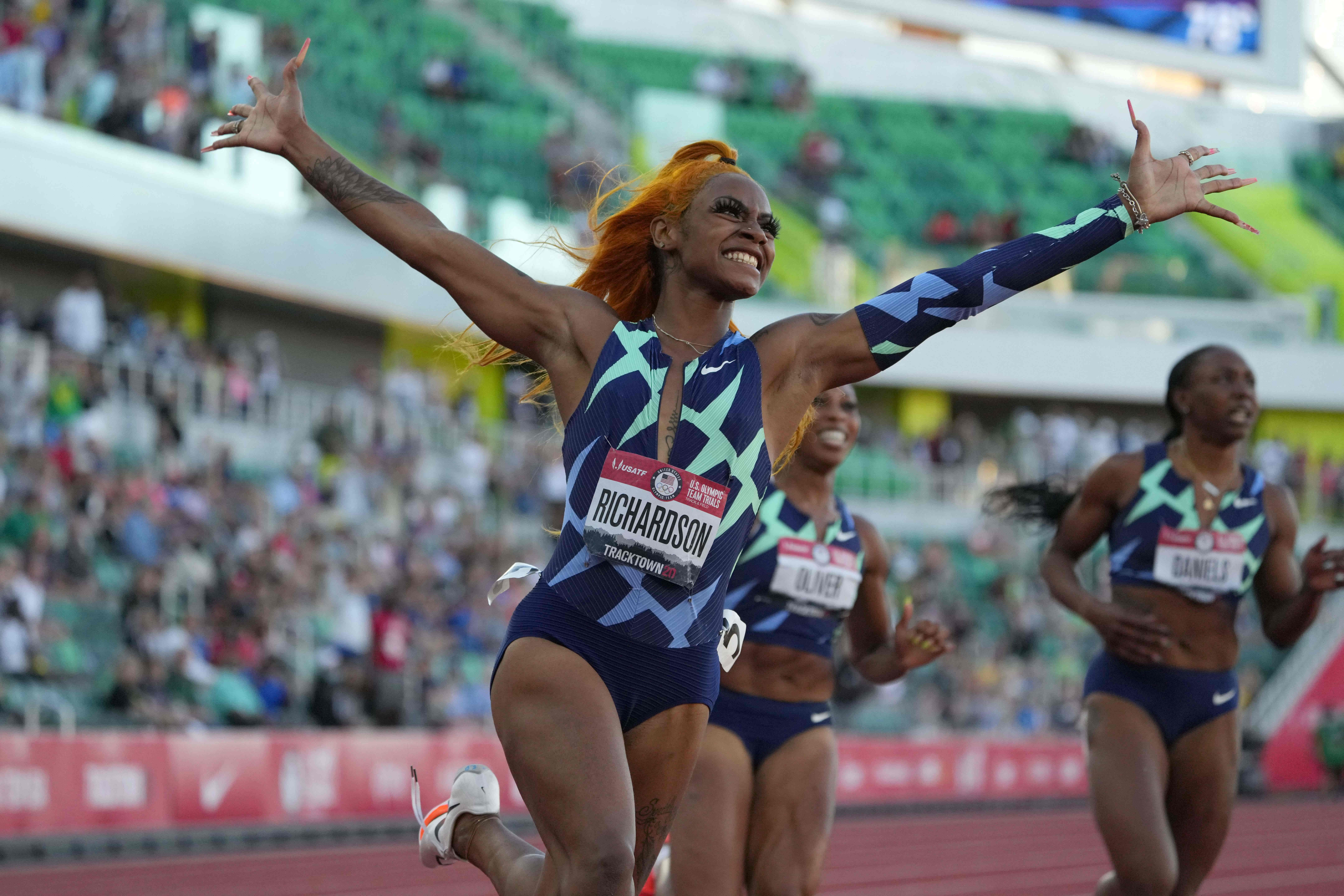 Jun 19, 2021; Eugene, OR, USA; Sha'Carri Richardson celebrates after winning the women's 100m in 10.86 during the US Olympic Team Trials at Hayward Field. Mandatory Credit: Kirby Lee-USA TODAY Sports