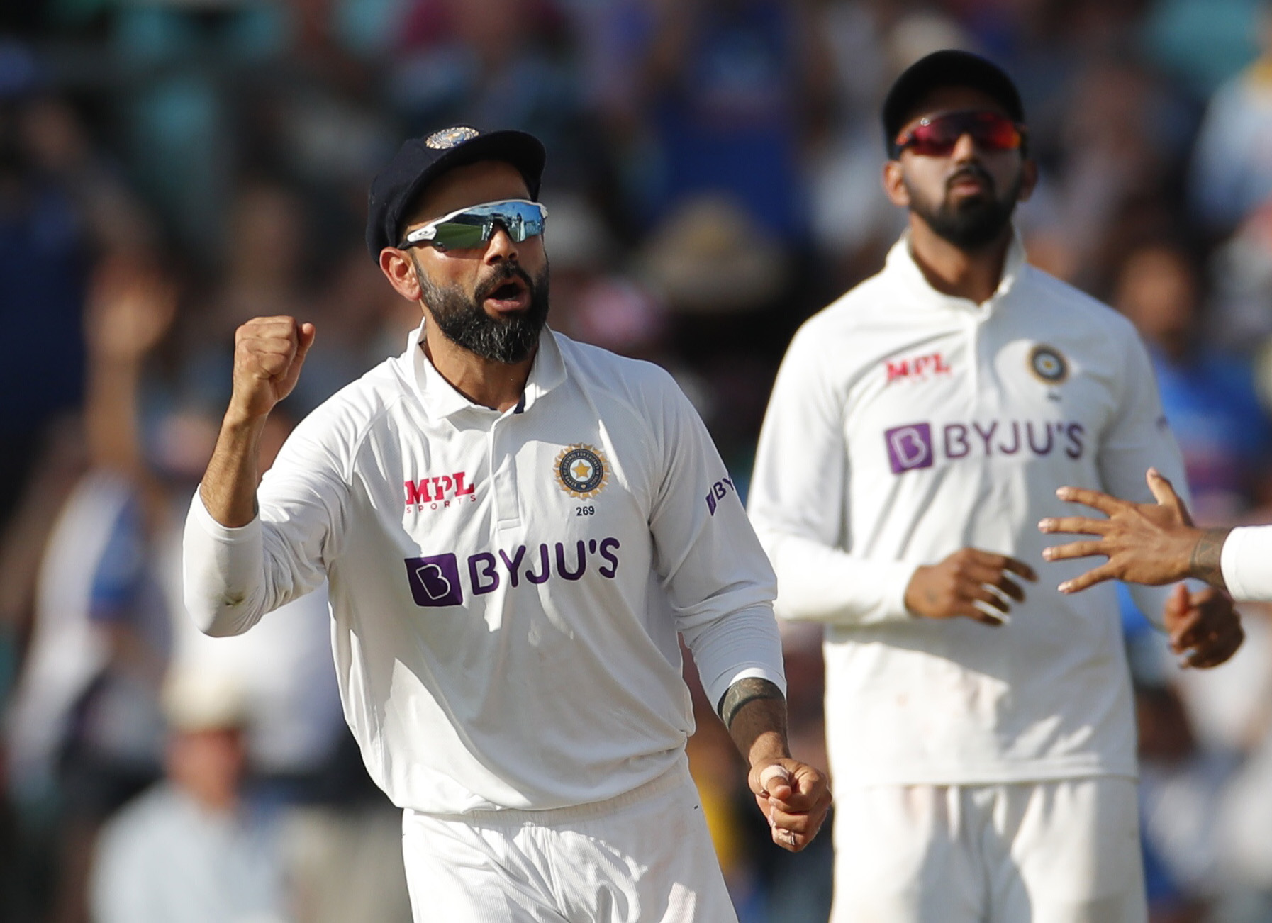 Cricket - Fourth Test - England v India - The Oval, London, Britain - September 6, 2021 India's Virat Kohli celebrates after winning the test match Action Images via Reuters/Andrew Couldridge