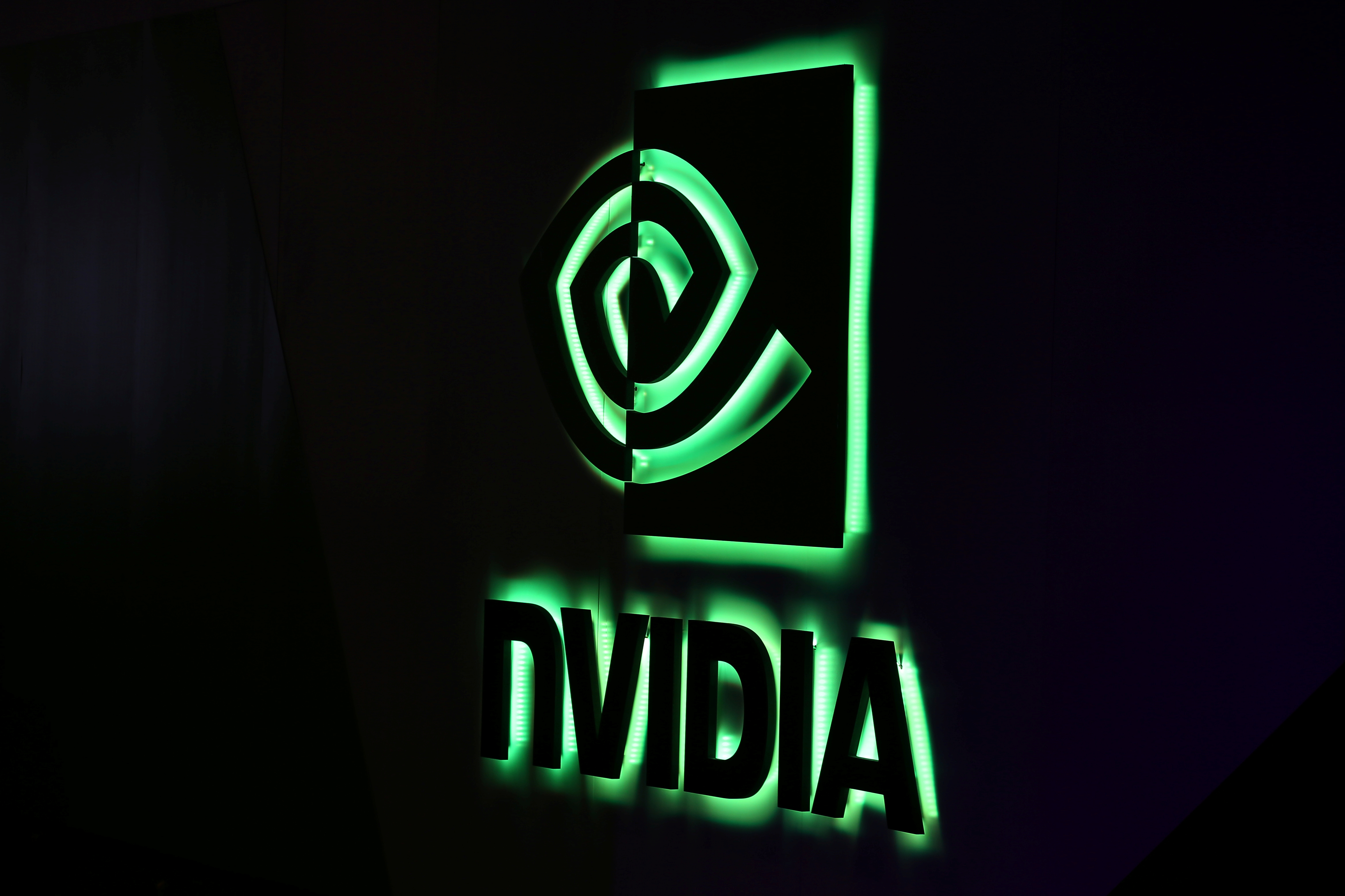 A NVIDIA logo is shown at SIGGRAPH 2017 in Los Angeles, California, U.S. July 31, 2017.  REUTERS/Mike Blake