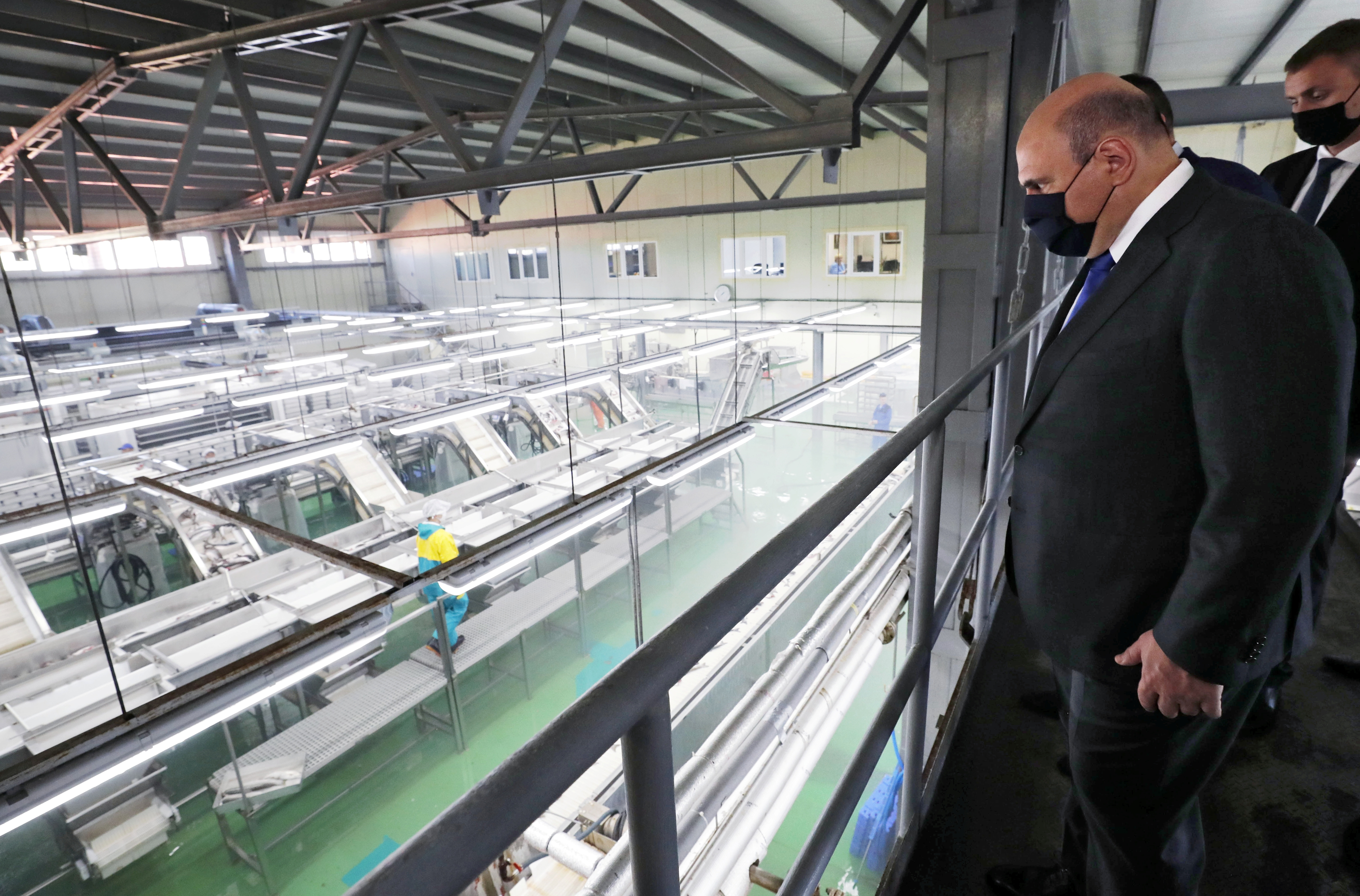 Russian Prime Minister Mikhail Mishustin visits the Yasny fish processing complex on the southern Kuril island of Iturup, Russia July 26, 2021. Sputnik/Dmitry Astakhov/Pool via REUTERS
