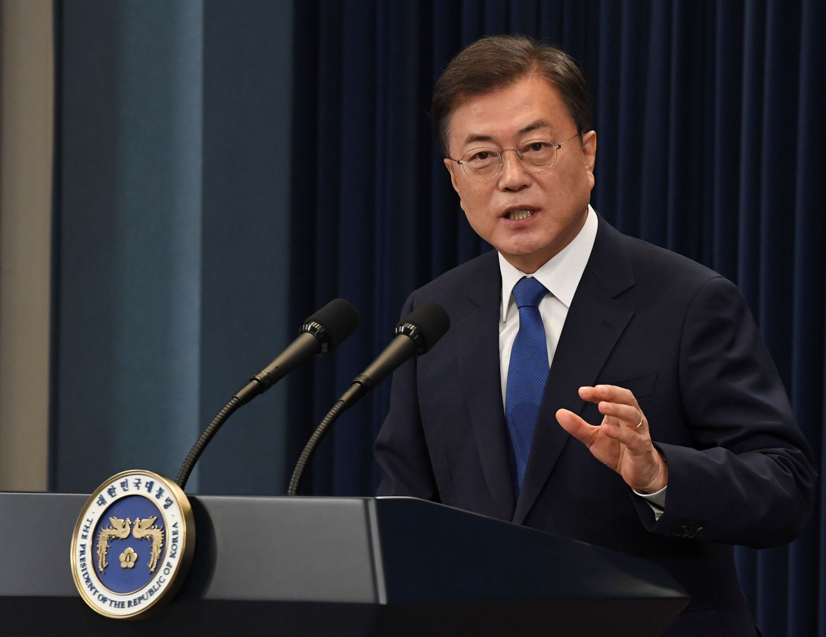 South Korean President Moon Jae-in speaks on the occasion of the third anniversary of his inauguration at the presidential Blue House in Seoul, South Korea, May 10, 2020. Kim Min-Hee/Pool via REUTERS