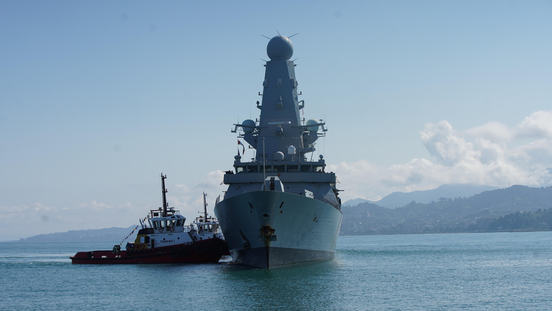 The British Royal Navy destroyer HMS Defender arrives in the Black Sea port of Batumi, Georgia, June 26, 2021. Vasil Gedenidze/British Embassy in Georgia/Handout via REUTERS